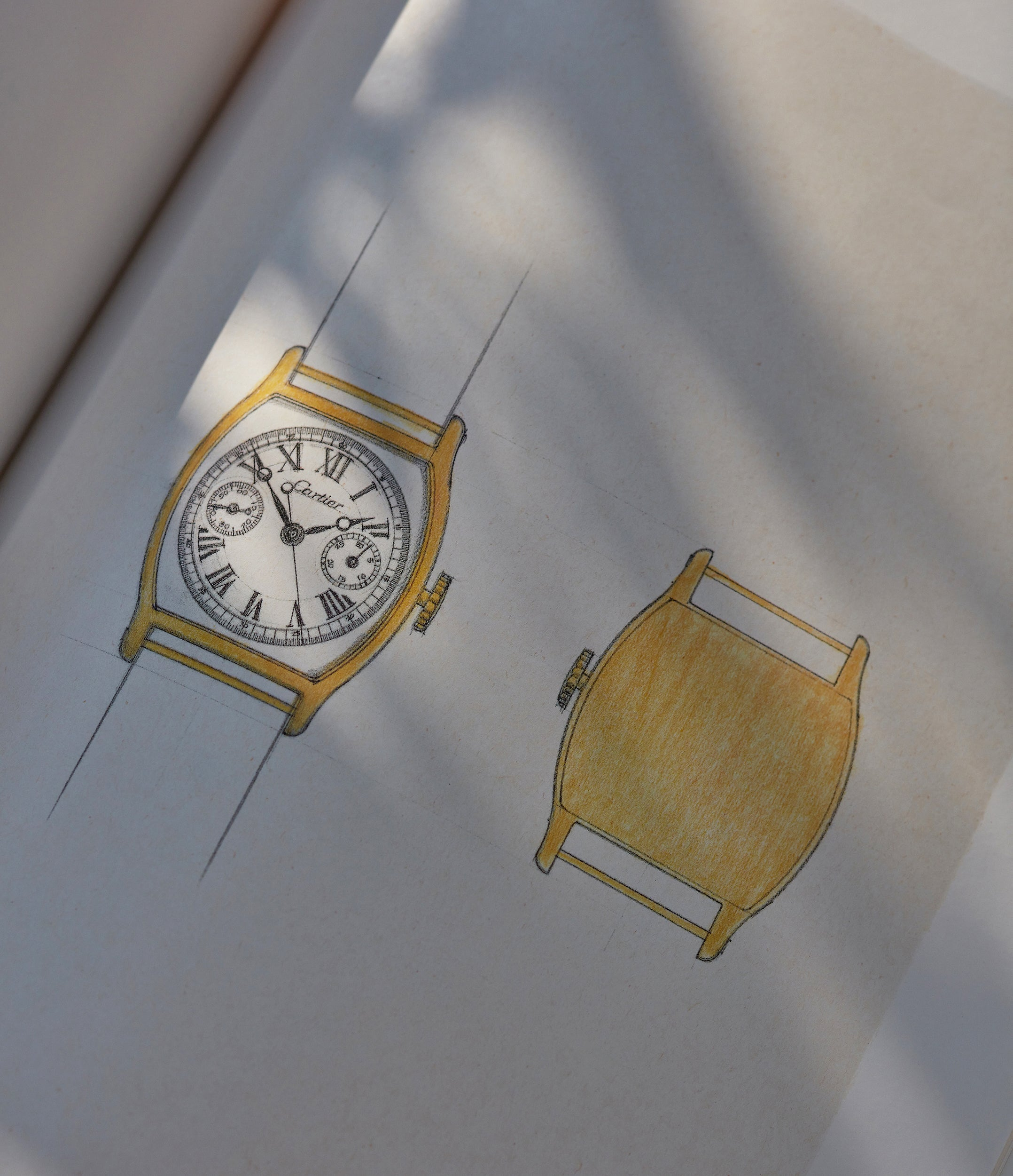 """Cartier CPCP Tortue Monopoussoir watch Design sketch In A Collector's Guide to the """"Collection Privée Cartier Paris"""" for A Collected Man London"""