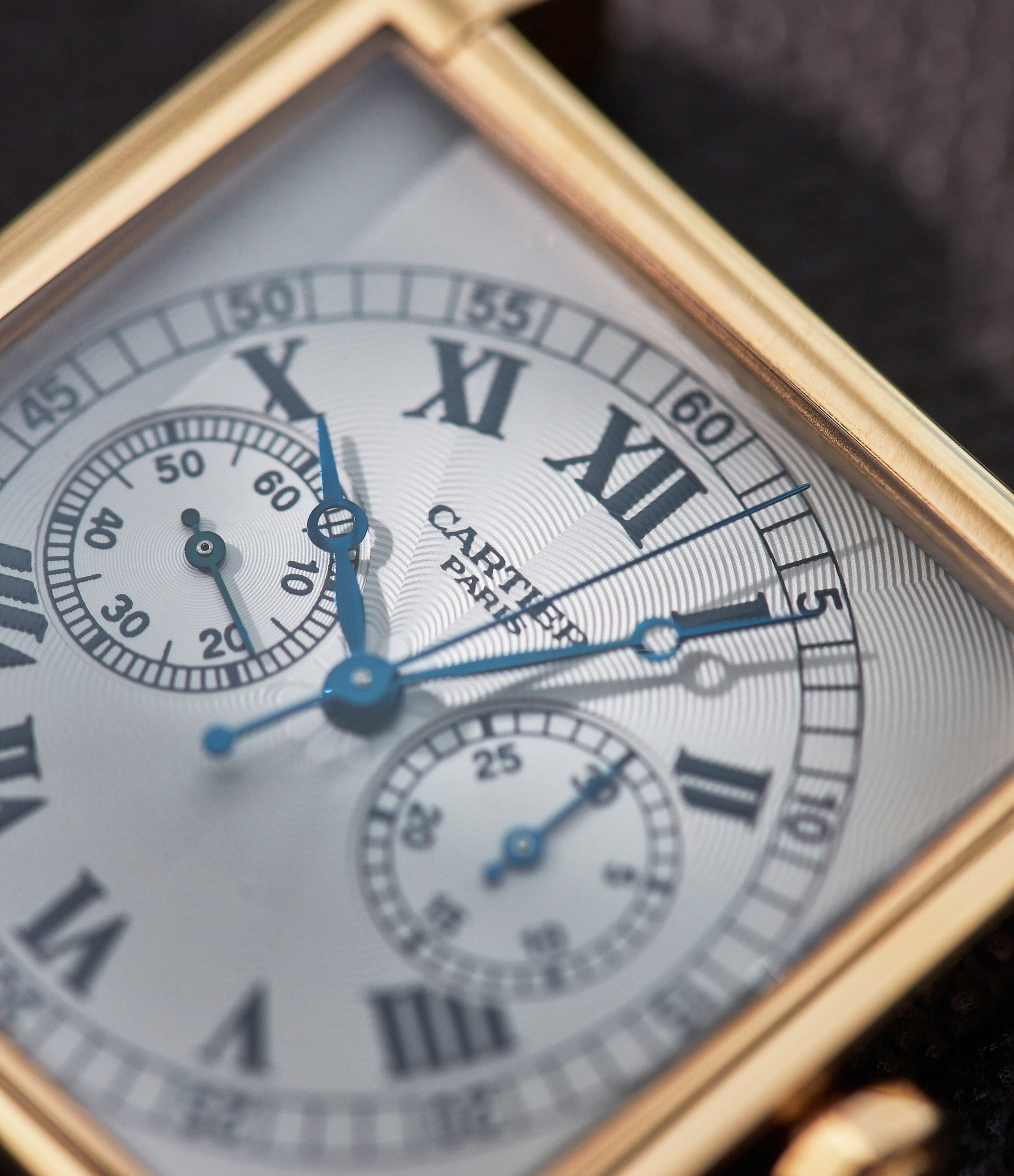 """Cartier CPCP Tank Monopoussoir dial close up In A Collector's Guide to the """"Collection Privée Cartier Paris"""" for A Collected Man London"""