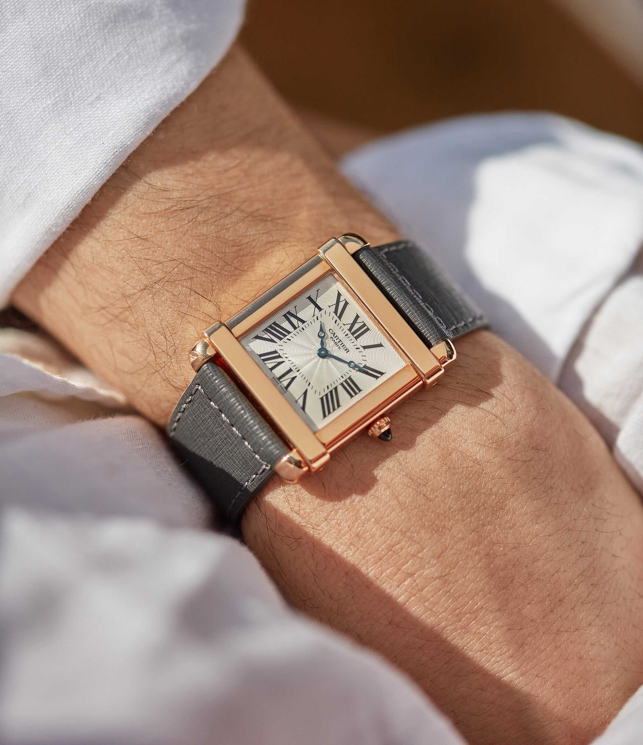 """Cartier CPCP Tank Chinoise watch on wrist In A Collector's Guide to the """"Collection Privée Cartier Paris"""" for A Collected Man London"""
