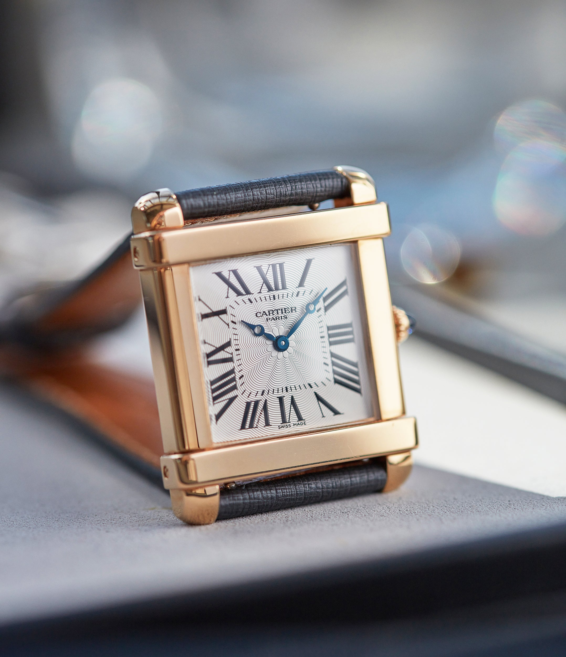 """Cartier CPCP Tank Chinoise watch on table In A Collector's Guide to the """"Collection Privée Cartier Paris"""" for A Collected Man London"""