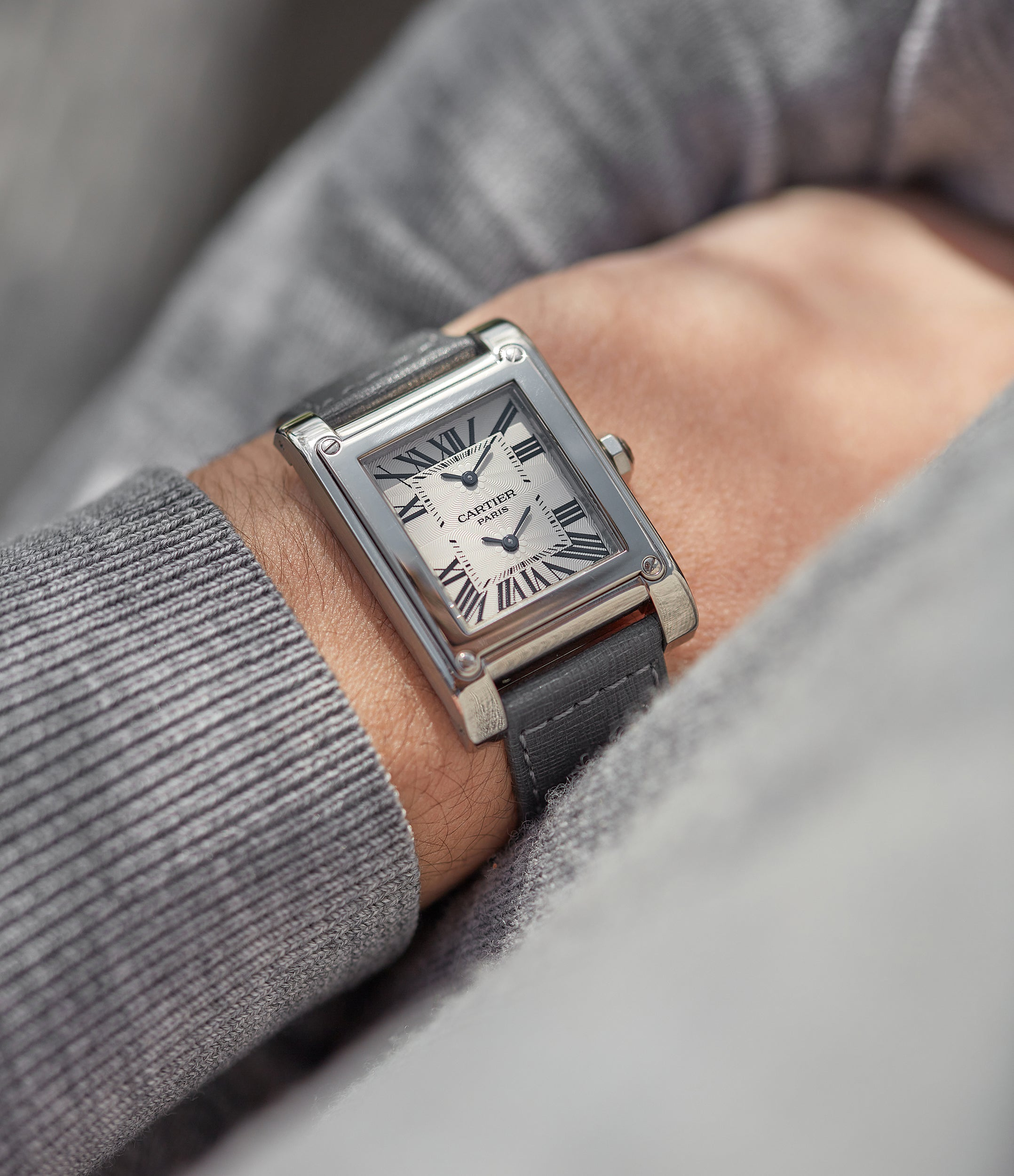 """Cartier CPCP Tank à Vis dual time watch on wrist In A Collector's Guide to the """"Collection Privée Cartier Paris"""" for A Collected Man London"""