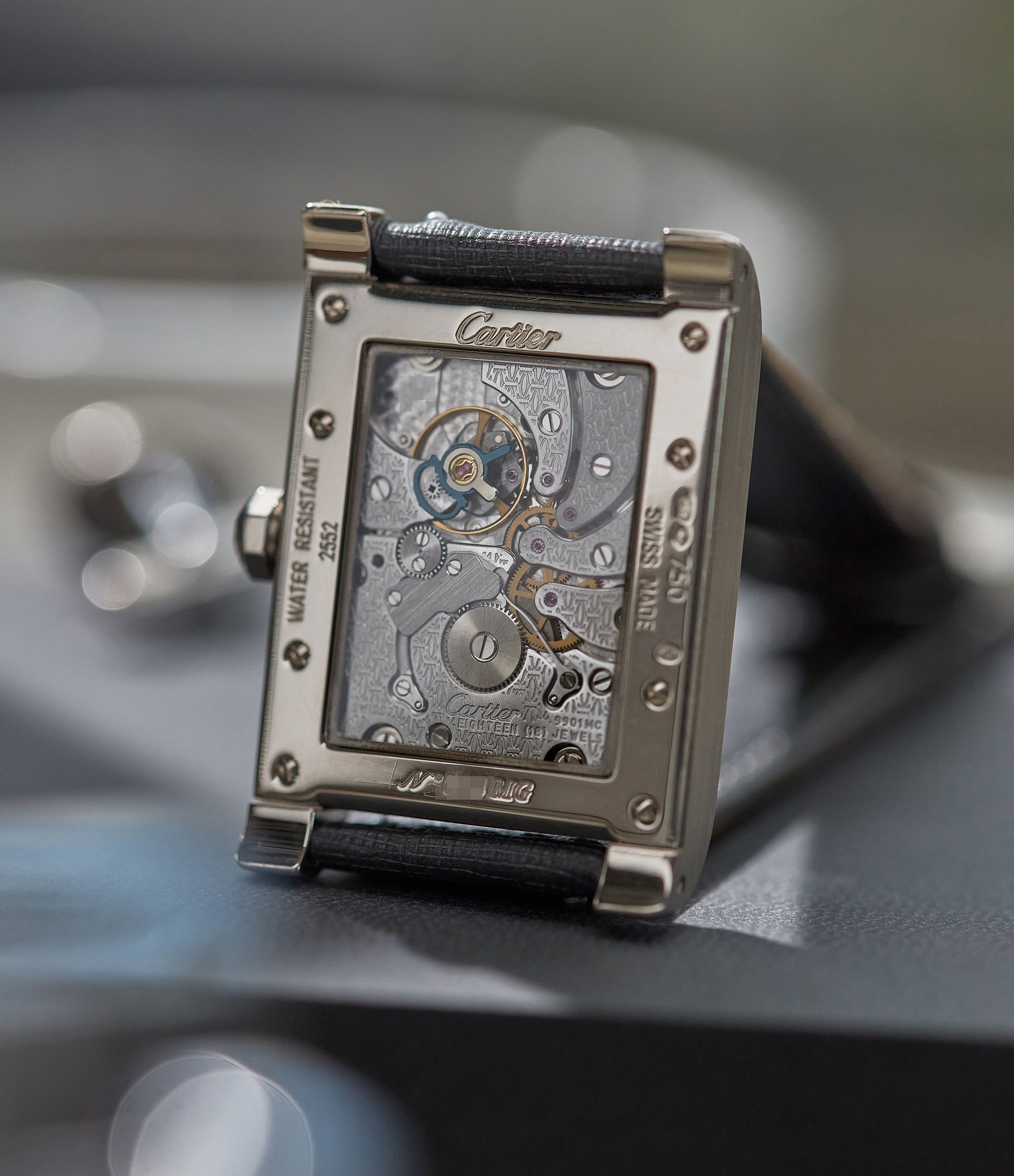"""Cartier CPCP Tank à Vis dual time watch movement In A Collector's Guide to the """"Collection Privée Cartier Paris"""" for A Collected Man London"""