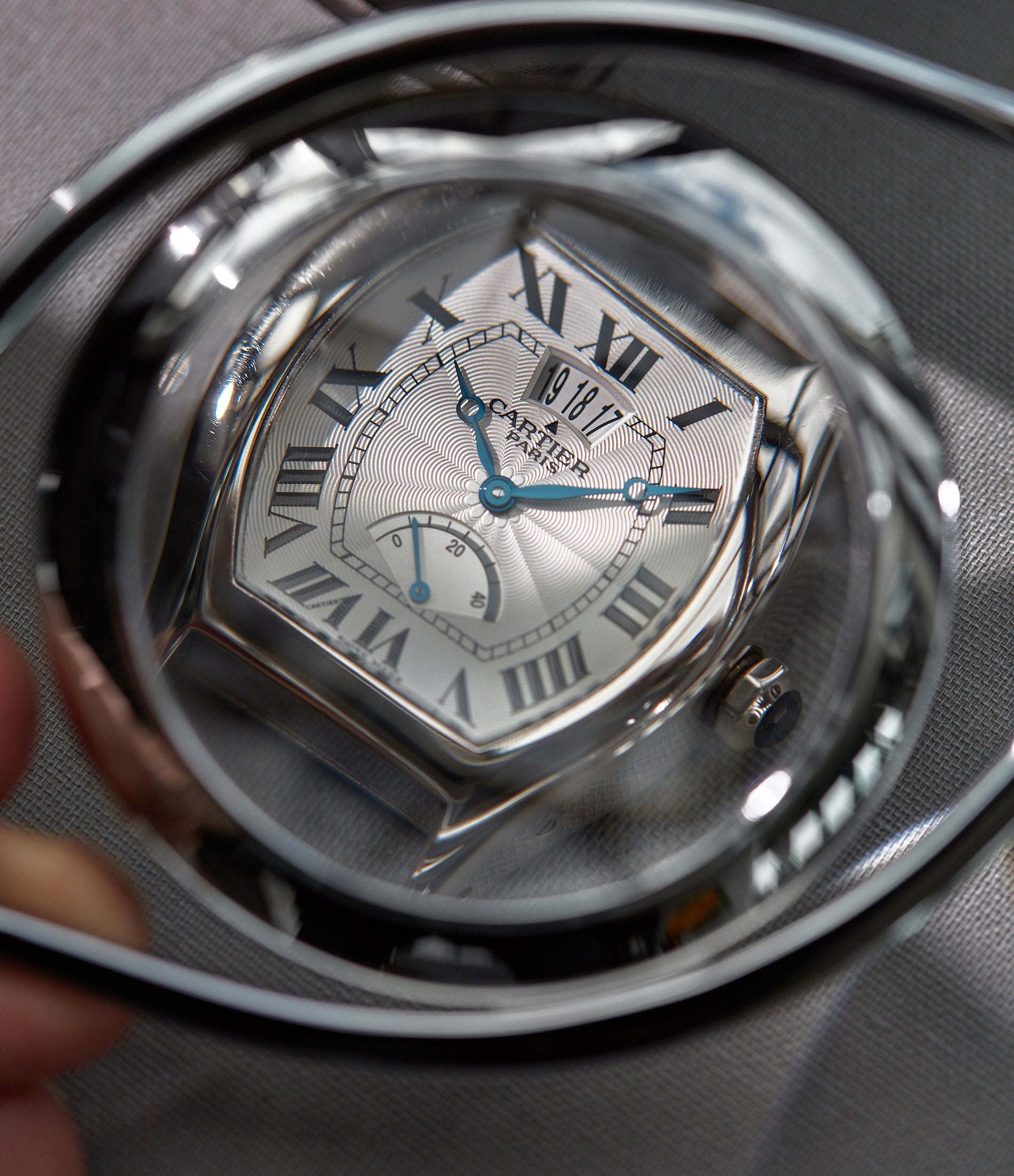 """Cartier CPCP white gold Tortue power reserve under glass In A Collector's Guide to the """"Collection Privée Cartier Paris"""" for A Collected Man London"""
