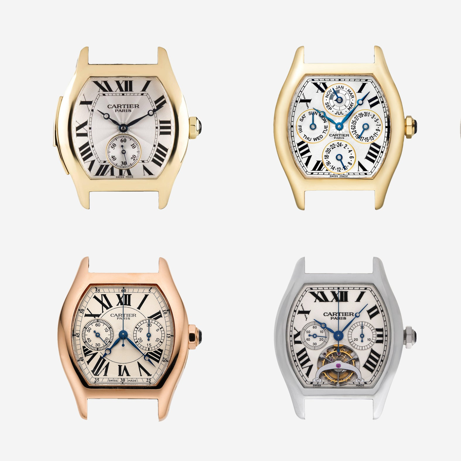 """Cartier Tortue montage of different watch models In A Collector's Guide to the """"Collection Privée Cartier Paris"""" for A Collected Man London"""