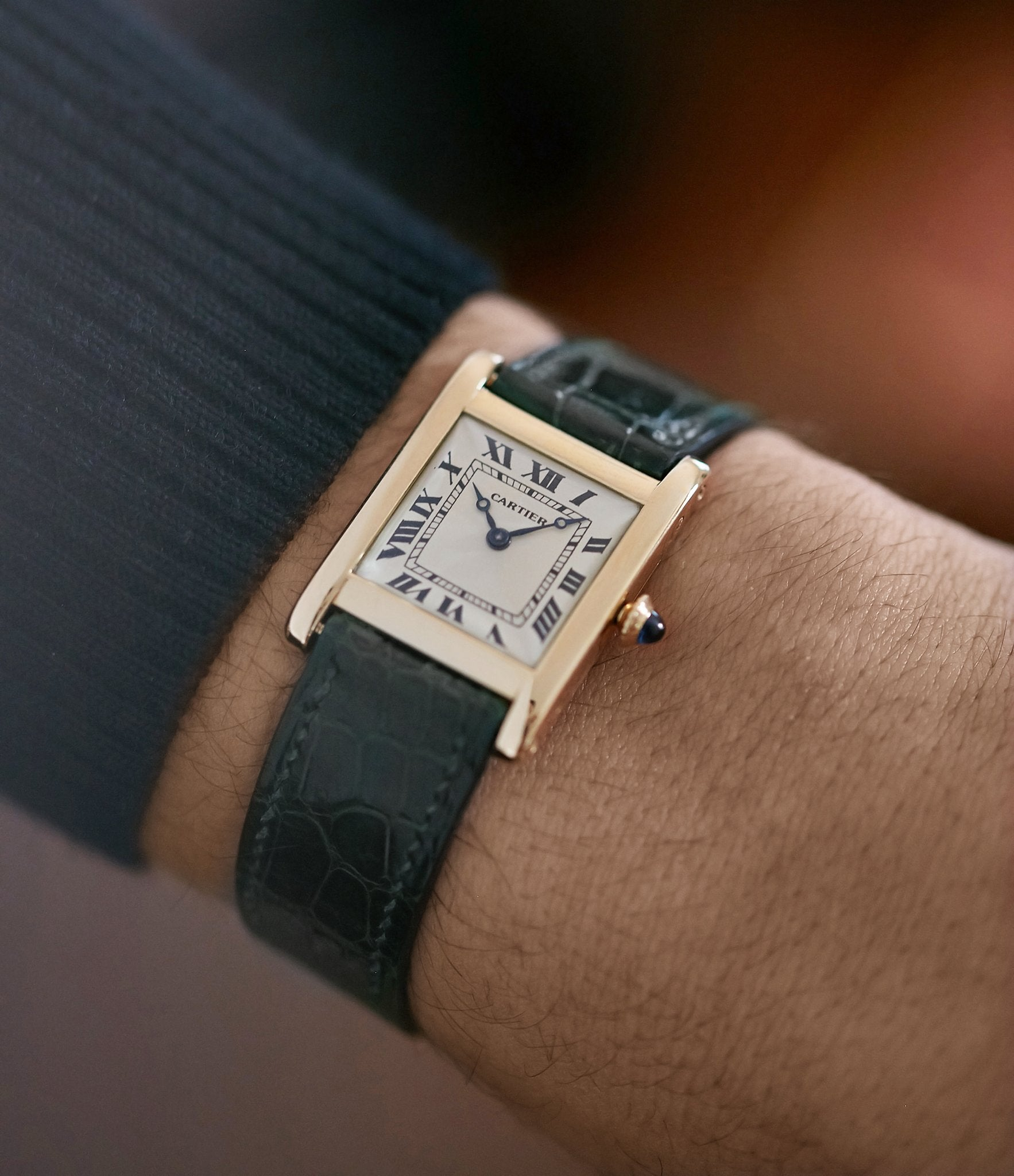 """Cartier watch on wrist In A Collector's Guide to the """"Collection Privée Cartier Paris"""" for A Collected Man London"""