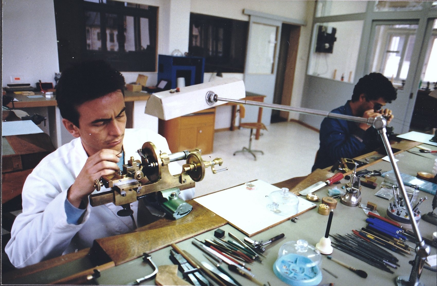"""Dominique Renaud and Giulio Papi at the workbench In A Collector's Guide to the """"Collection Privée Cartier Paris"""" for A Collected Man London"""