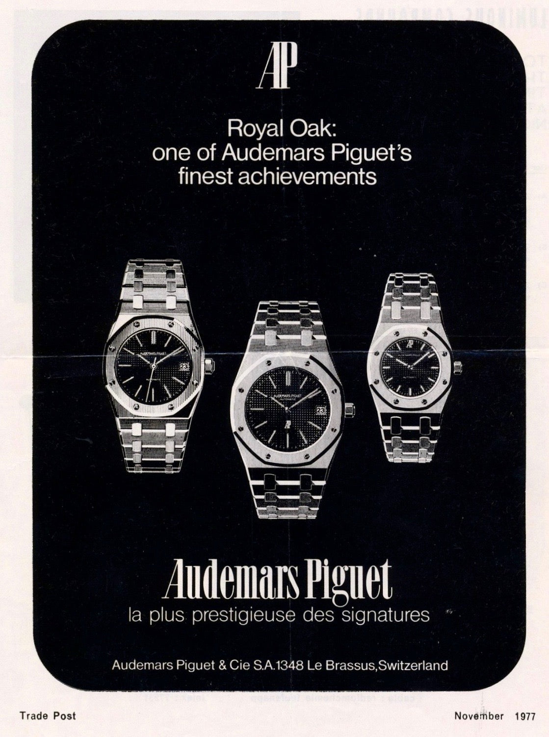 Audemars Piguet advertisement showing Royal Oaks including a 4100 from AdPatina for A Collected Man London