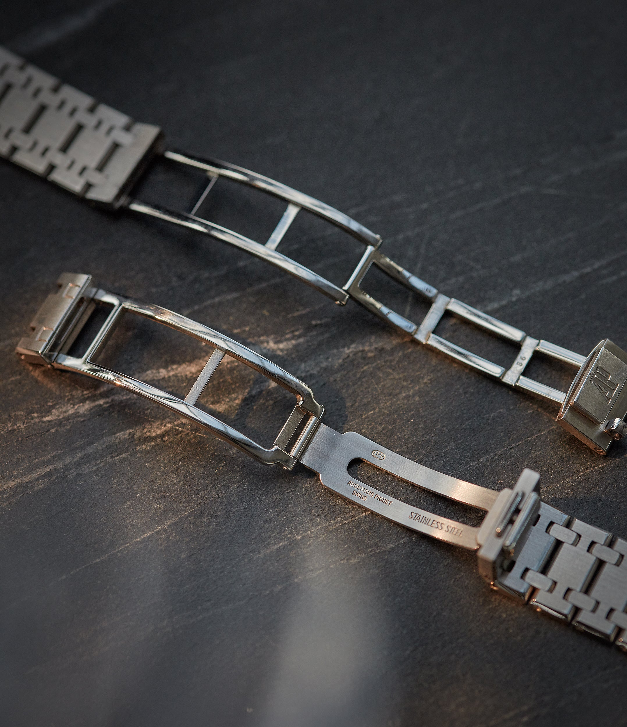 Audemars Piguet Royal Oak 14790 first series and second series clasps side by side for A Collected Man London