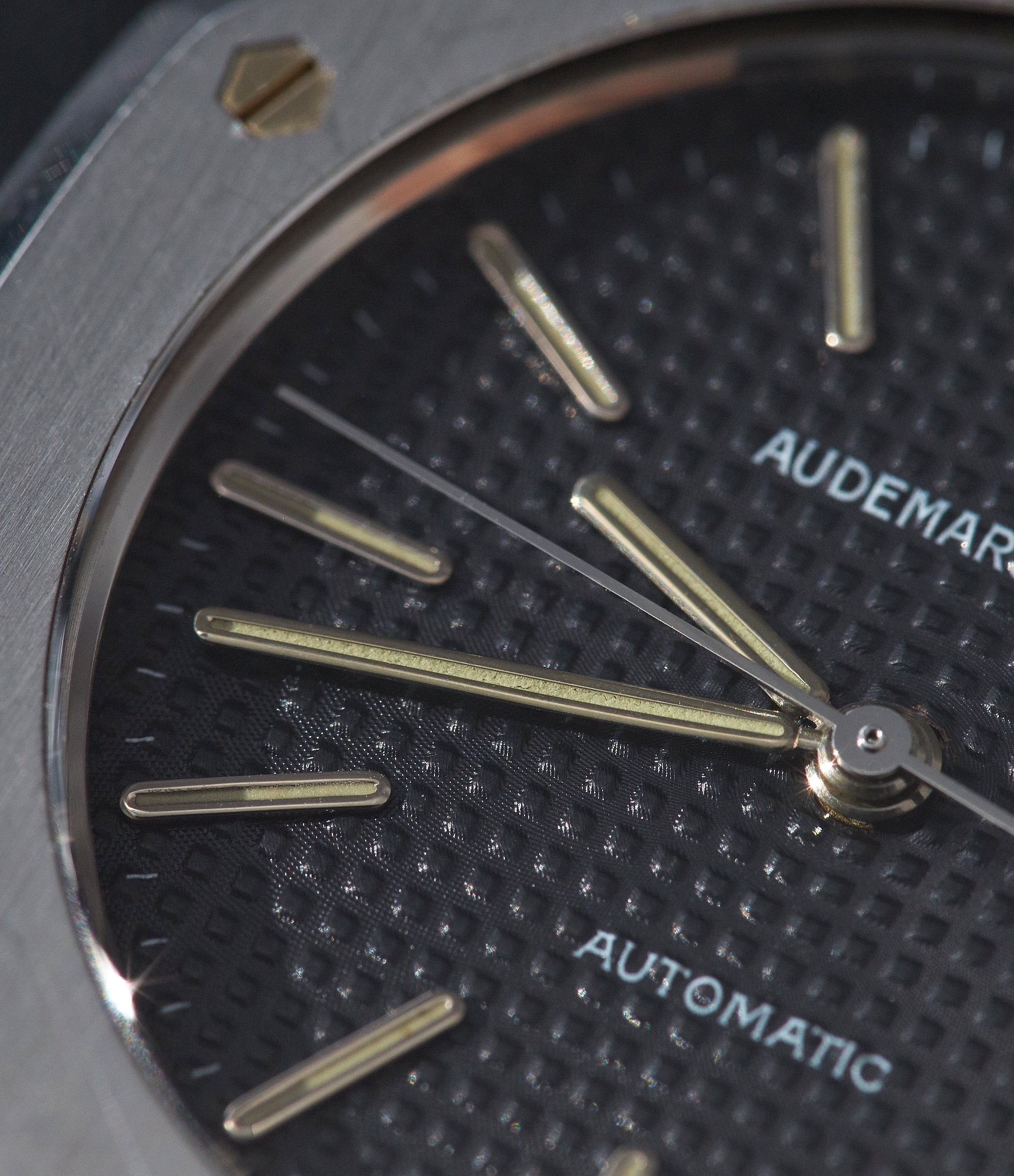 Audemars Piguet Royal Oak first series black dial stainless steel close up showing thin hands for A Collected Man London