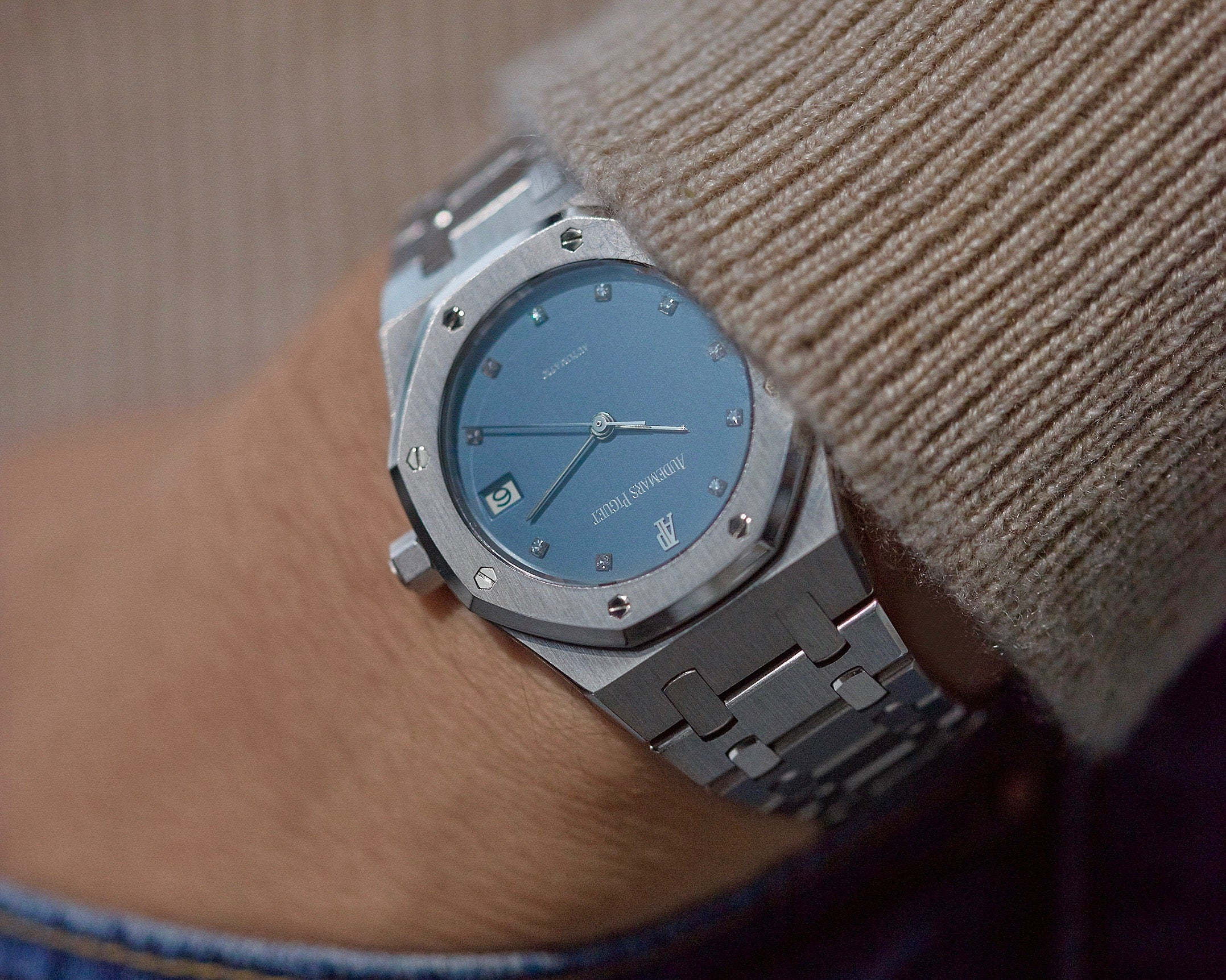 Audemars Piguet Royal Oak 14790 in Platinum with diamond markers pocket shot for A Collected Man London