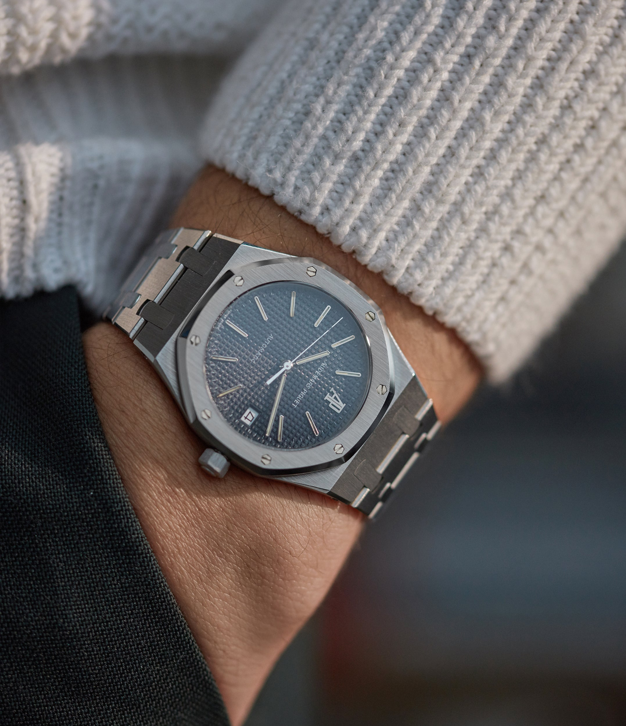 Audemars Piguet Royal Oak 14700 in stainless steel with a black dial pocket shot for A Collected Man London