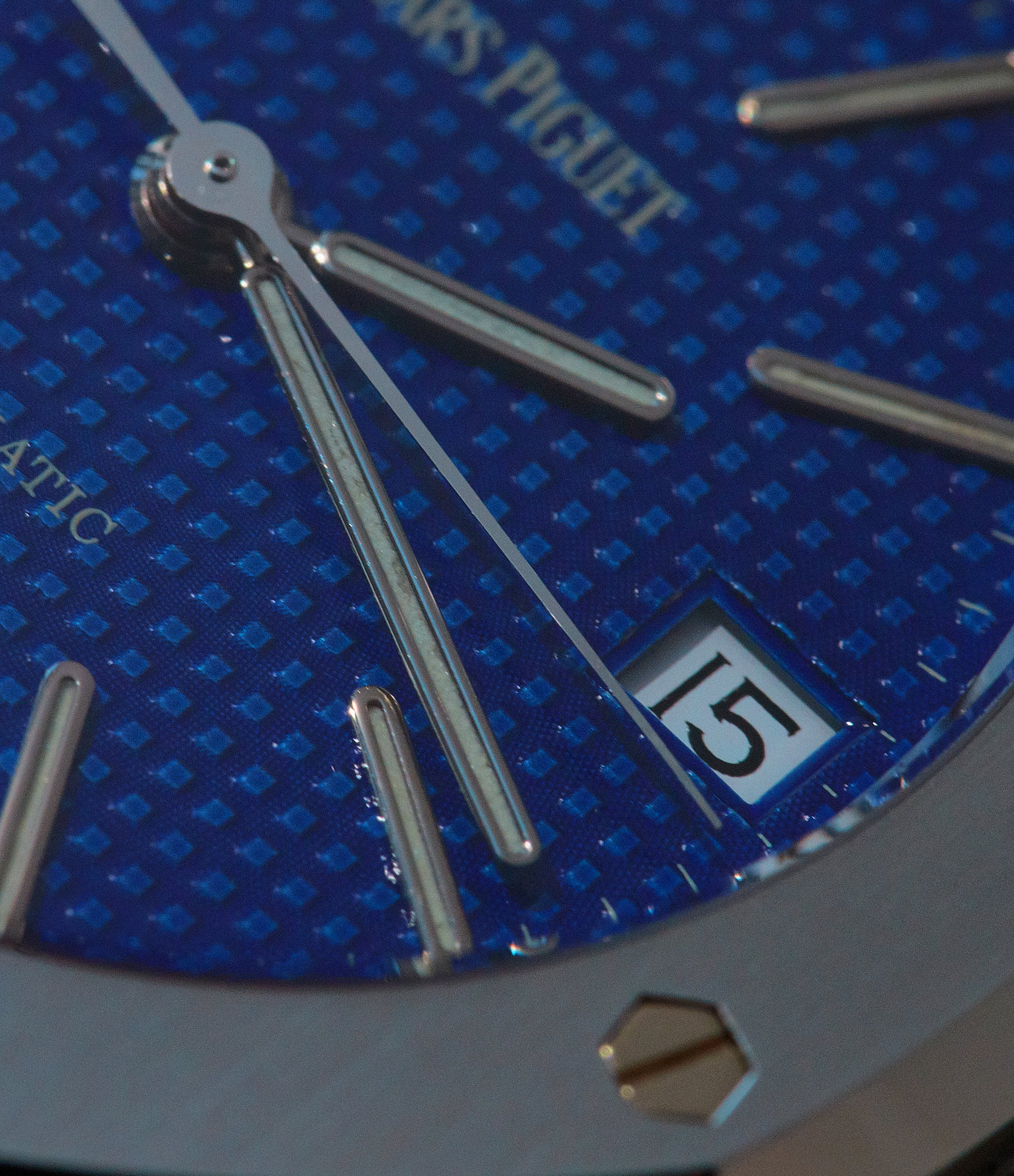Audemars Piguet Royal Oak 14790 in stainless steel with blue Yves Klien dial close up for A Collected Man London