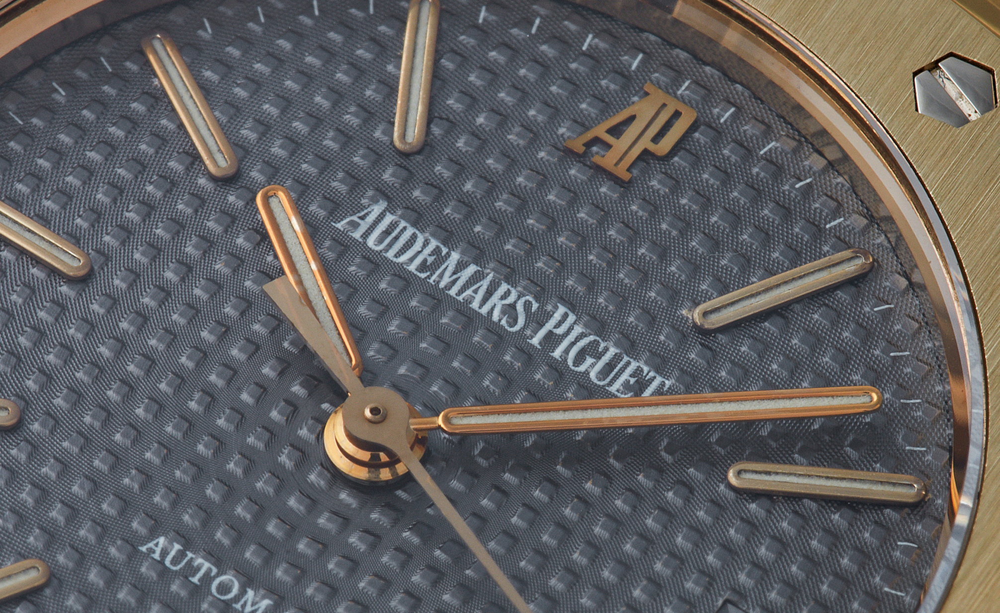 Audemars Piguet Royal Oak 14790 second series close up on new signature with capital A and P for A Collected Man London