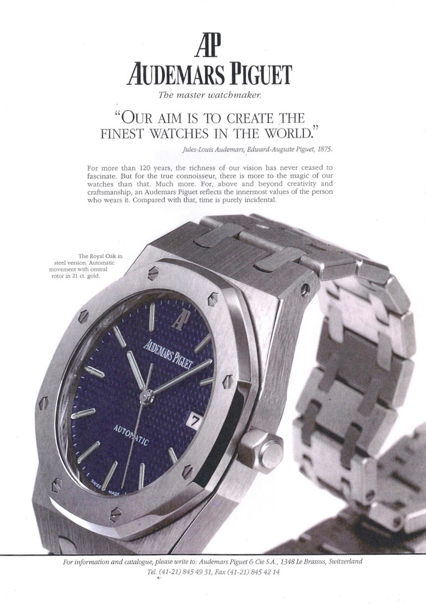 Audemars Piguet Royal Oak 14790 second series advertisement with an unsigned crown for A Collected man London