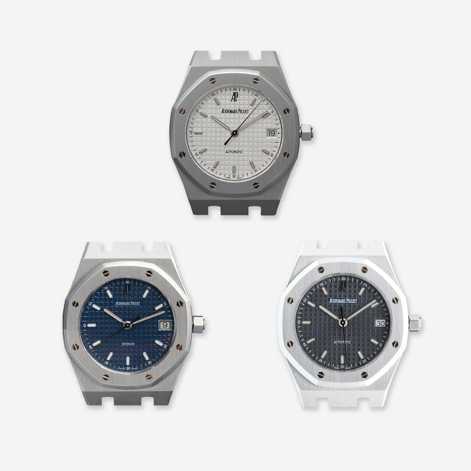 Audemars Piguet Royal Oak 14790 three third series with blue, black and white dials for A Collected Man London