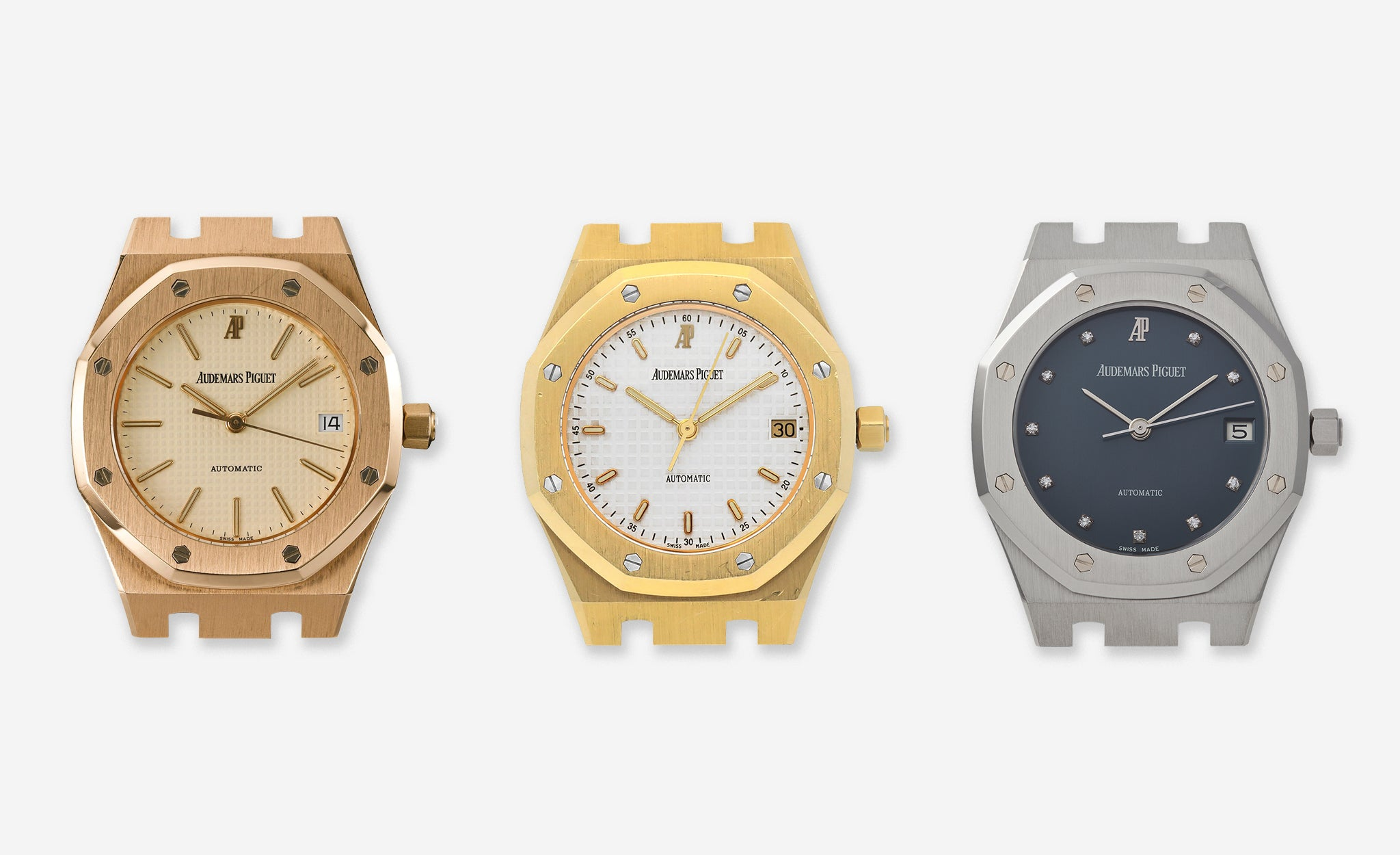 Three Audemars Piguet Royal Oak 14790 models in rose gold yellow gold and platinum for A Collected Man London