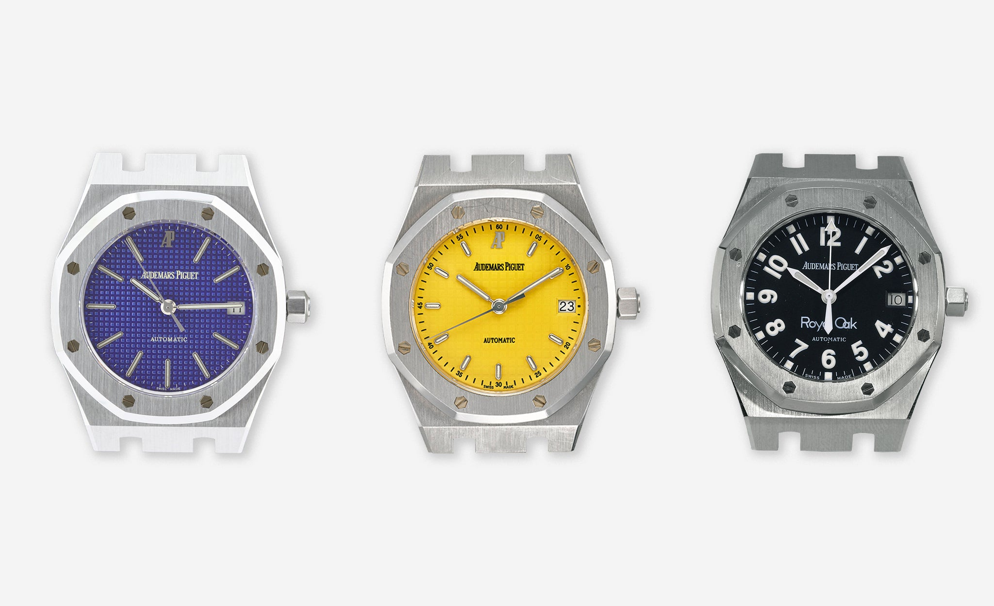Audemars Piguet Royal Oak 14790 blue yves Klein dial, yellow dial and military dial for A Collected Man London