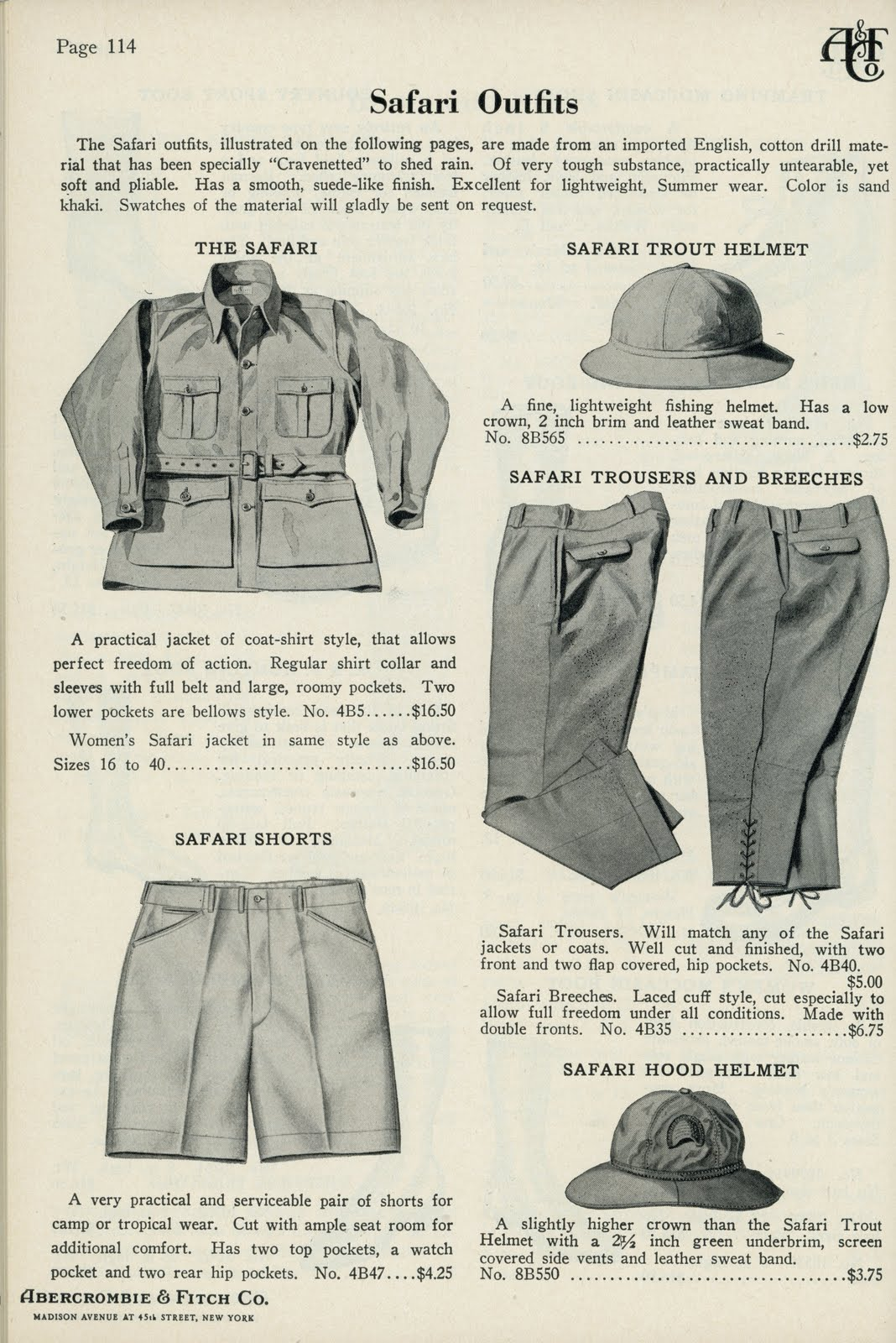 Abercrombie & Fitch vintage advert in The Complications Lost to Time for A Collected Man London