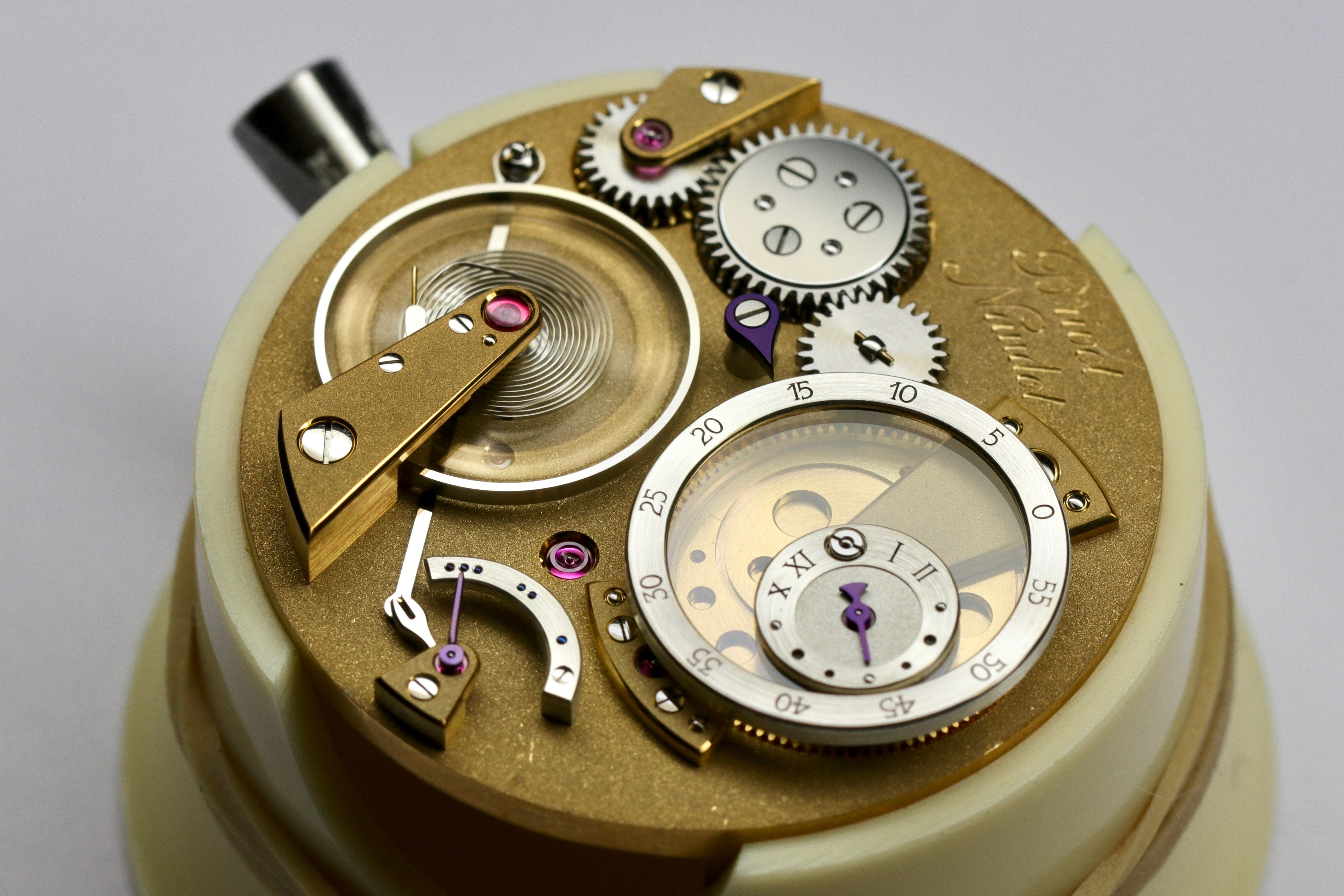 Cyril Brivet-Naudot new handmade watch movement with power reserve for A Collected Man London