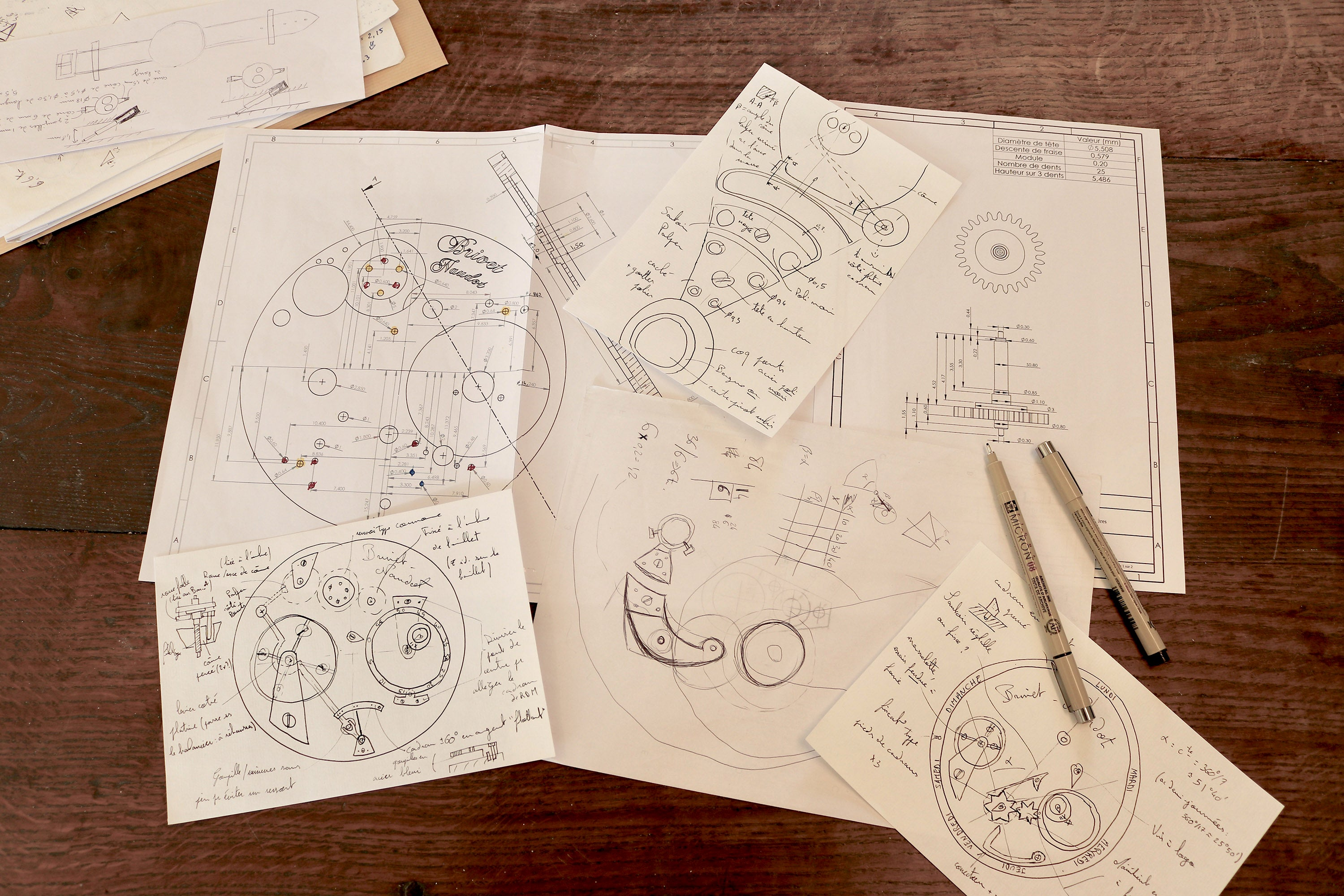 Cyril Brivet-Naudot technical drawings of handmade watch with power reserve for A Collected Man London