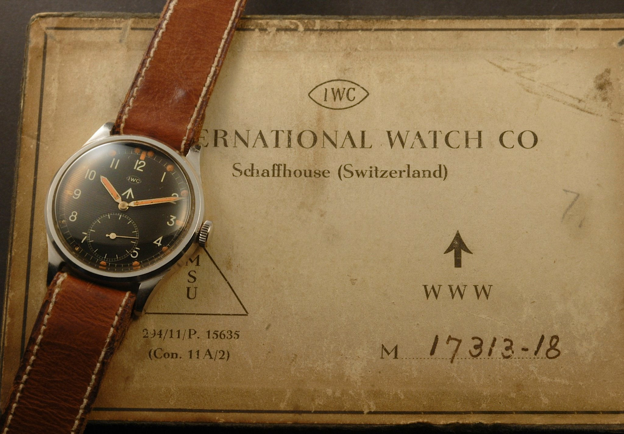 W.W.W. British Dirty Dozen IWC  military watch with original box at A Collected Man London online vintage military watch specialist
