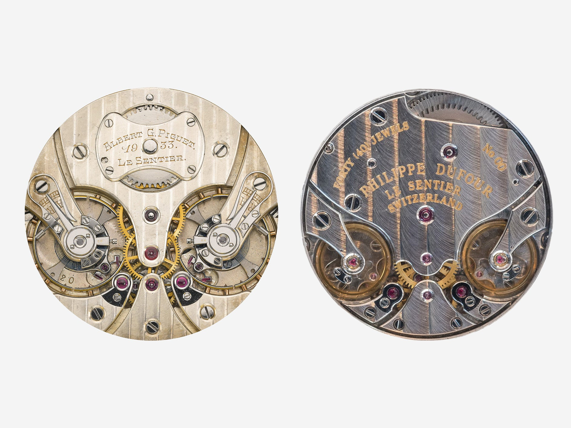 Philippe Dufour Duality movement next to a Piguet pocket watch movement from the 1930s A Collected Man London