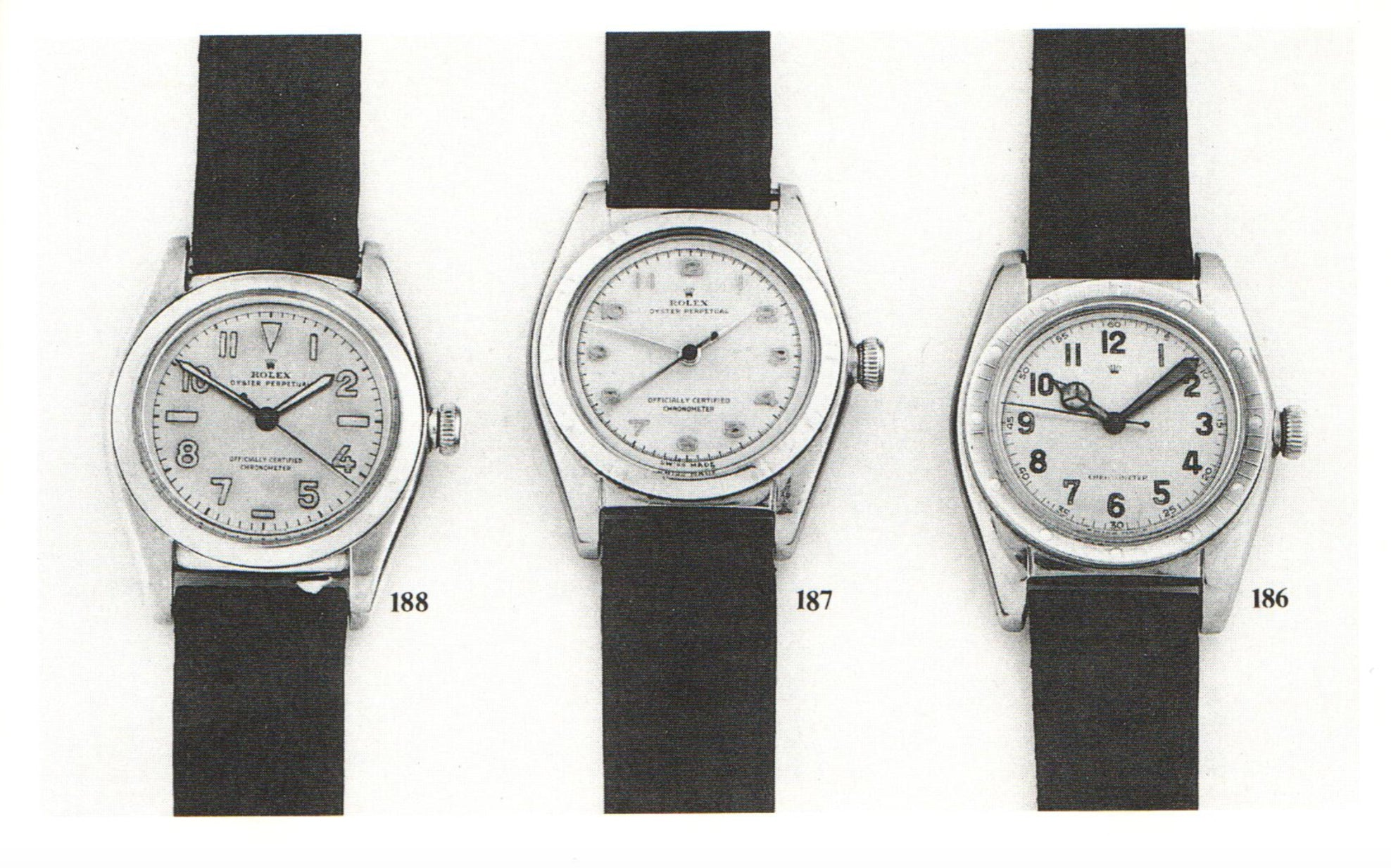 Line up of Bubblebacks from Crott auction catalogue in The Early Days of Vintage Wristwatch Collecting for A Collected Man London