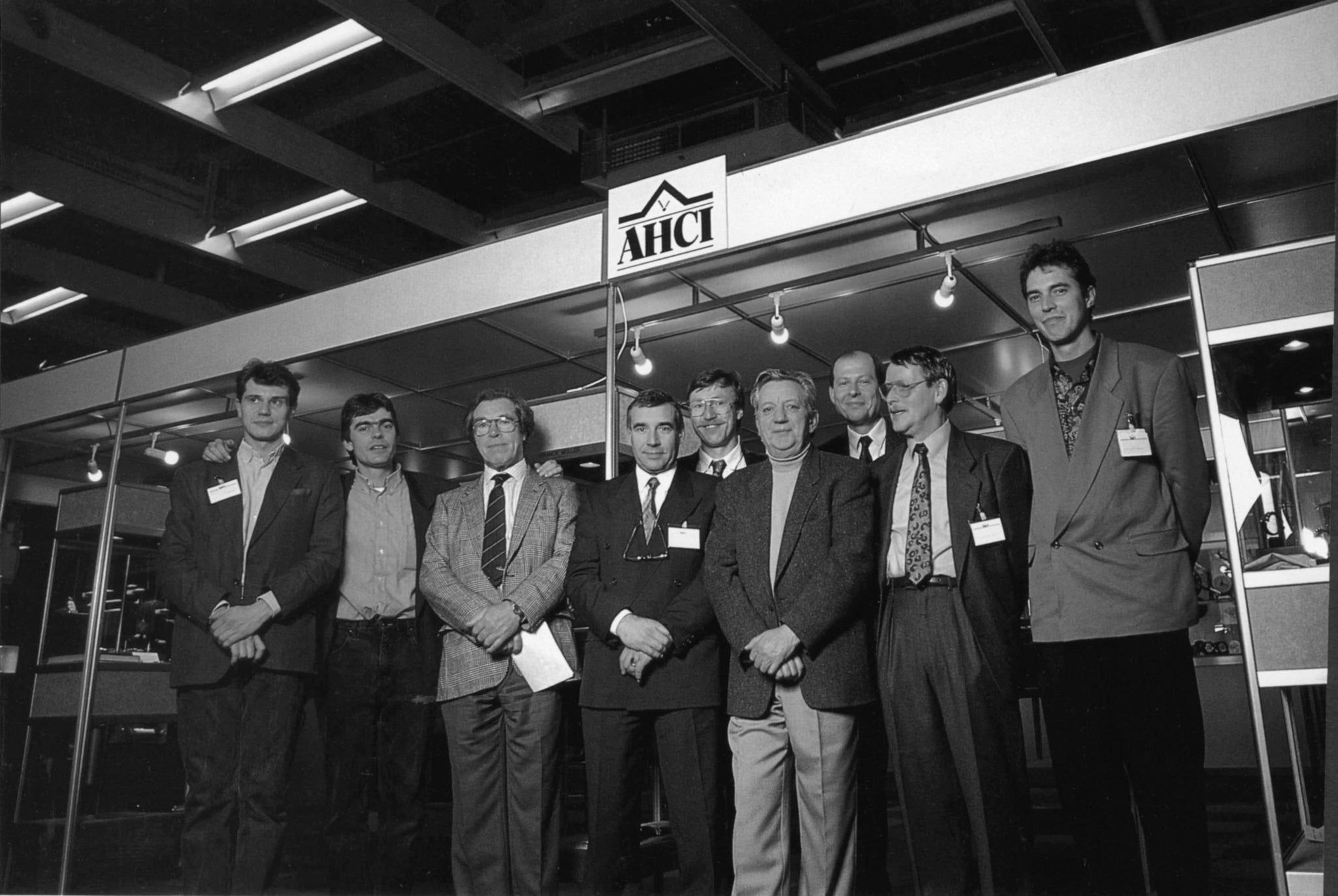 F.P. Journe with George Daniels, Franck Muller, Josef Snétivy, Paul Gerber, Jean Kazès, Mattias Naeschke and Svend Andersen at Basel in 1986 at the AHCI stand