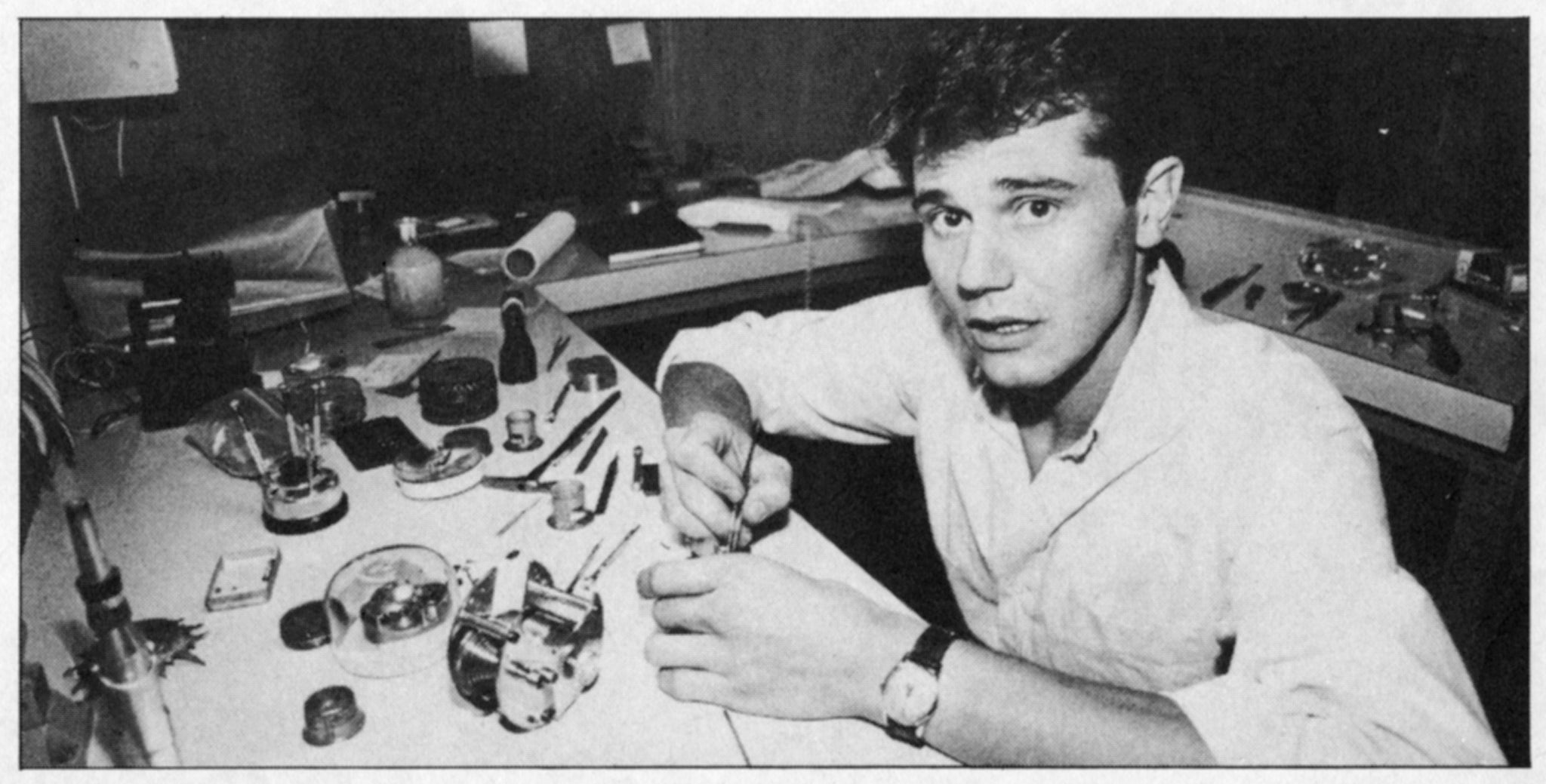 A young Francois-Paul Journe at his workbench in 1987, Paris