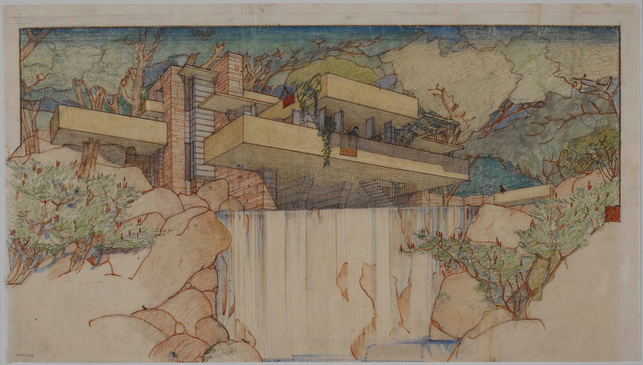 Sketch of Fallingwater by Frank Lloyd Wright