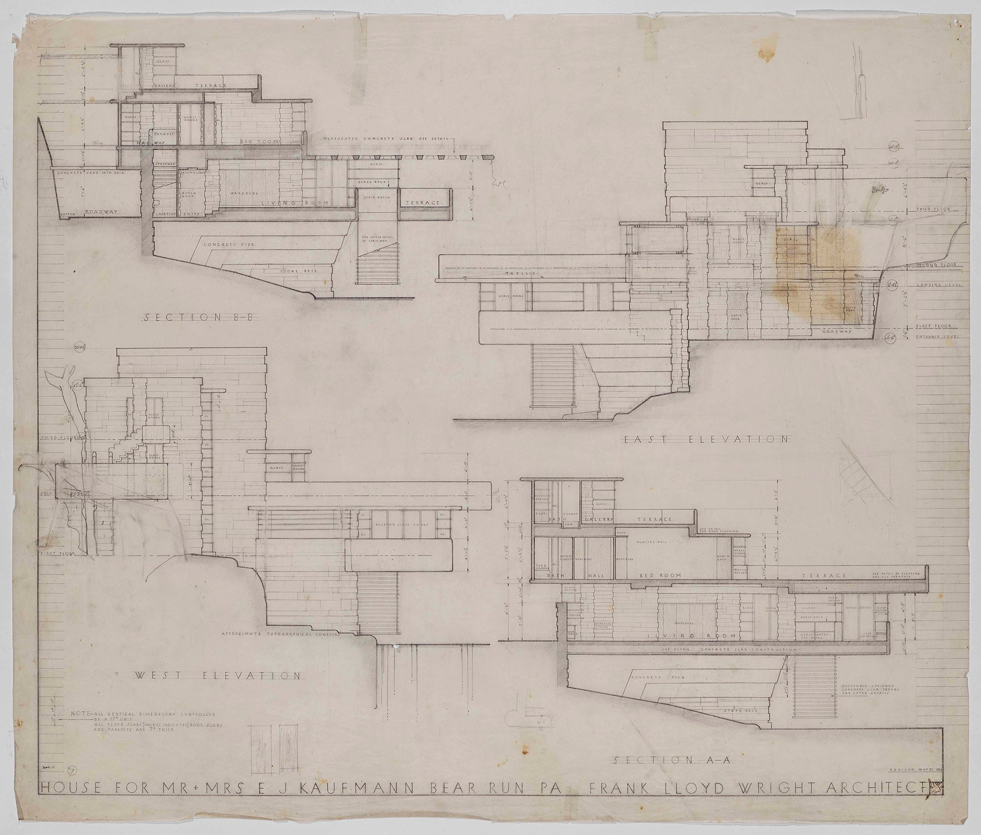 Frank Lloyd Wright technical drawing of Fallingwater