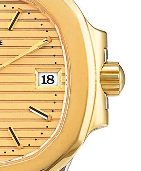 Patek Philippe nautilus ref. 4700 two tone champagne dial white date window serif font for A Collected Man London