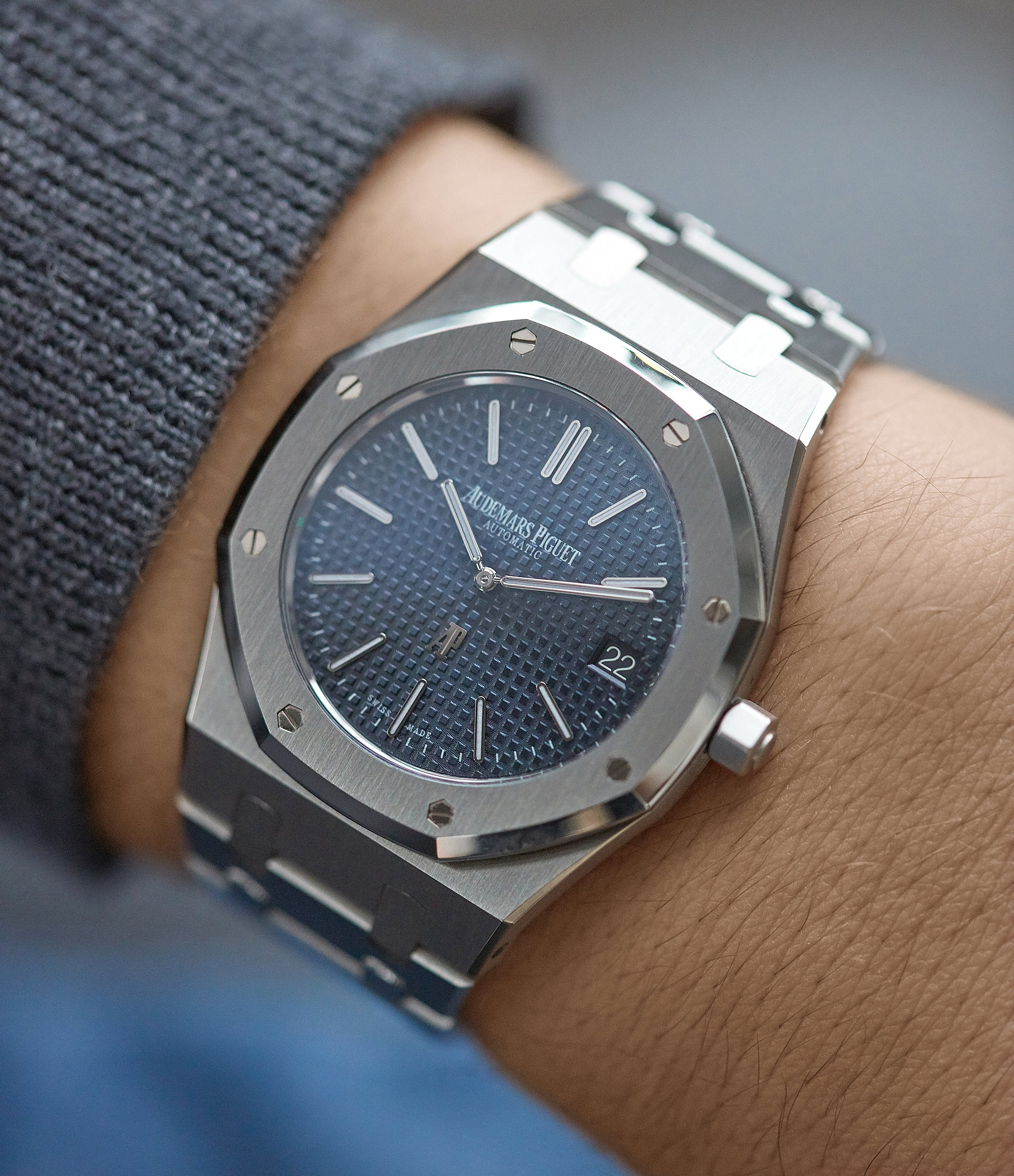 Audemars Piguet Royal Oak on wrist in Five Collectors Choose their Favourite Date Disc for A Collected Man London