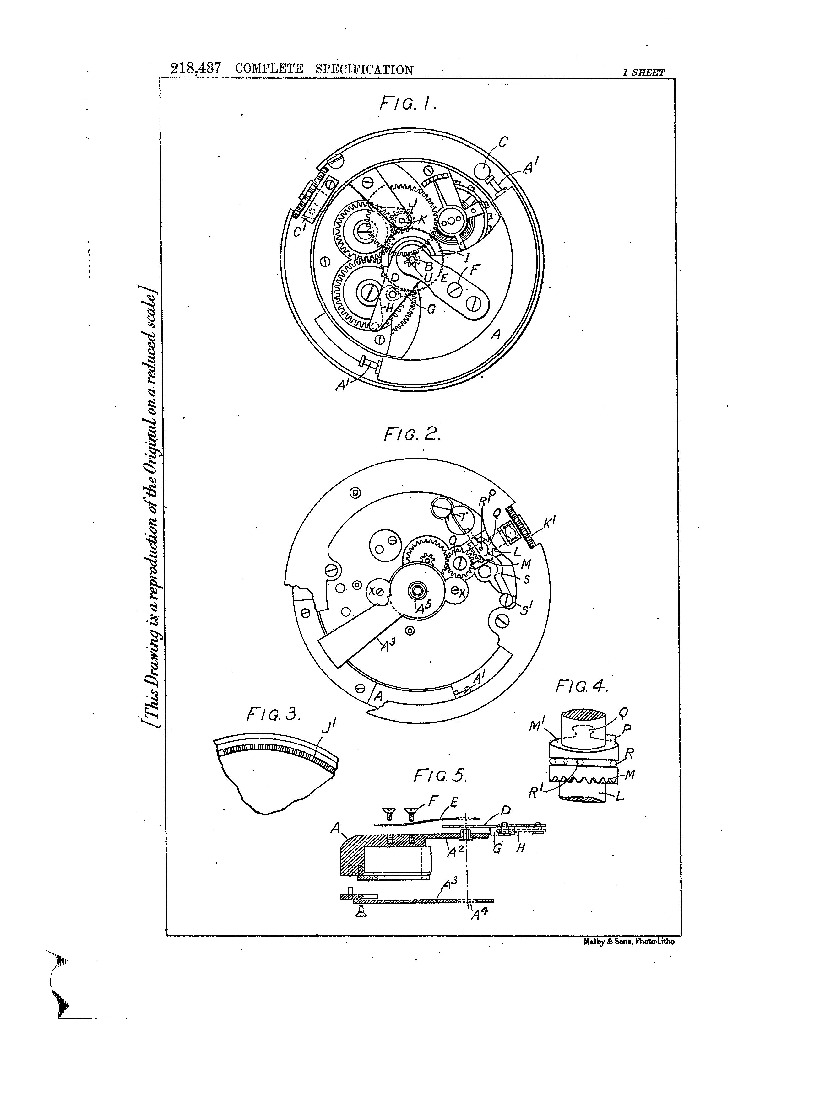 """John Harwood""""bumper"""" automatic movement technical drawing In Four Patents that Changed the Face of Watchmaking for A Collected Man London"""