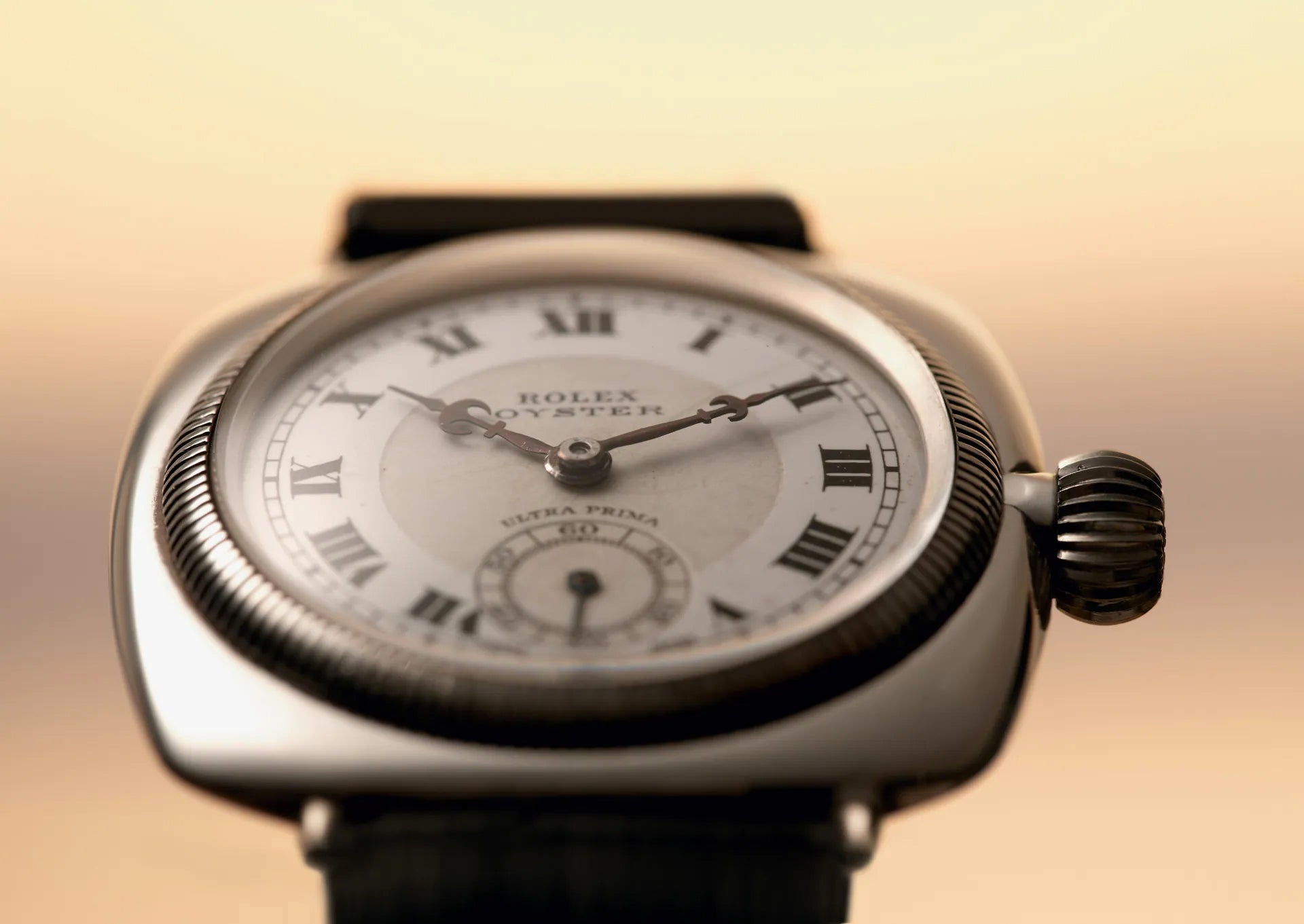 Rolex Oyster from 1926 shot from below In Four Patents that Changed the Face of Watchmaking for A Collected Man London