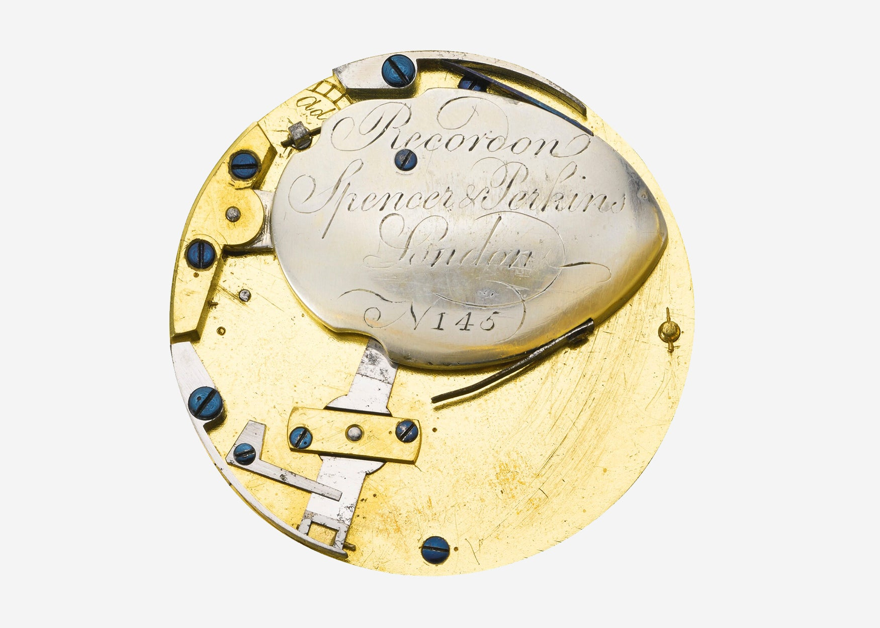 Recordon, Spencer & Perkins self-winding pocket watch movement In Four Patents that Changed the Face of Watchmaking for A Collected Man London