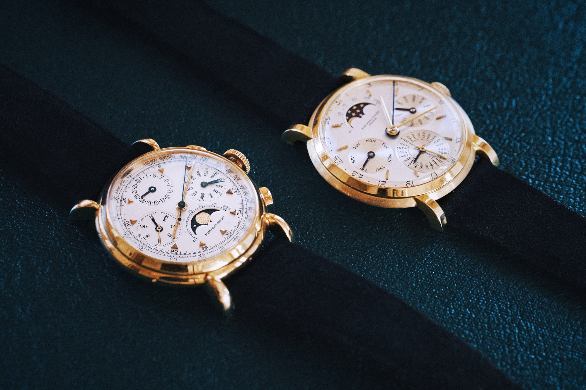 Two Audemars Piguet vintage perpetual calendars held in the company's archives for A Collected Man London