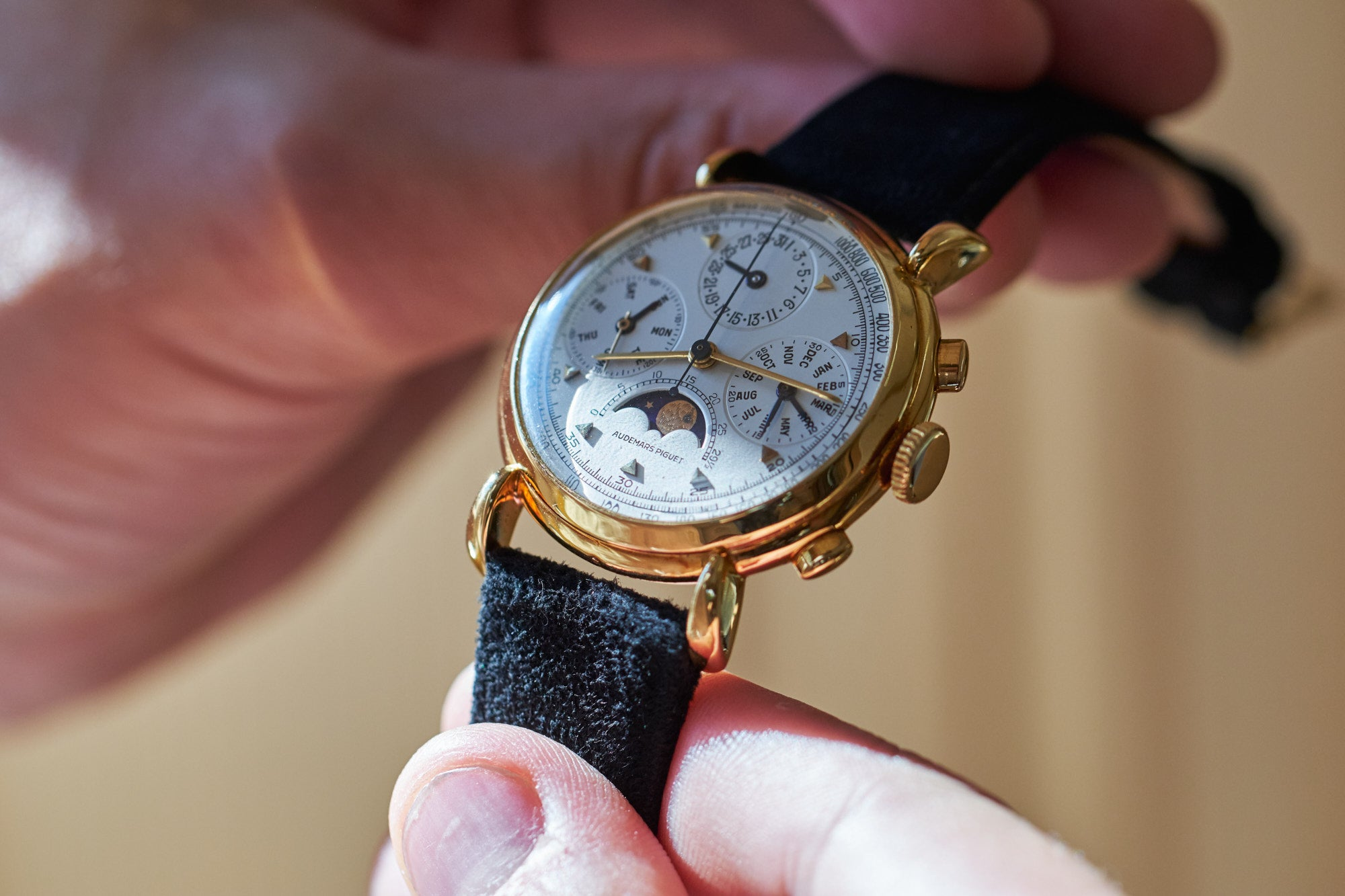 A Audemars Piguet perpetual calendard chronograph in yellow gold from the brands early days help in their archives in Le Brassus for A Collected Man London