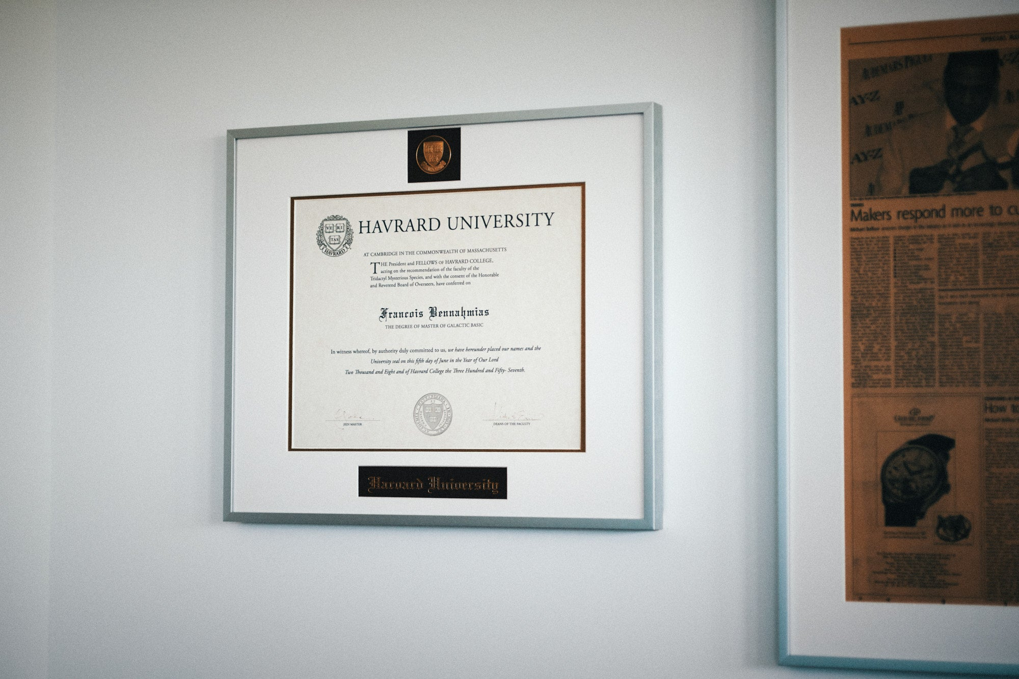 François-Henry Bennahmias CEO of Audemars Piguet AP fake degree certificate from Havrard University in Galactic Basic for A Collected Man London