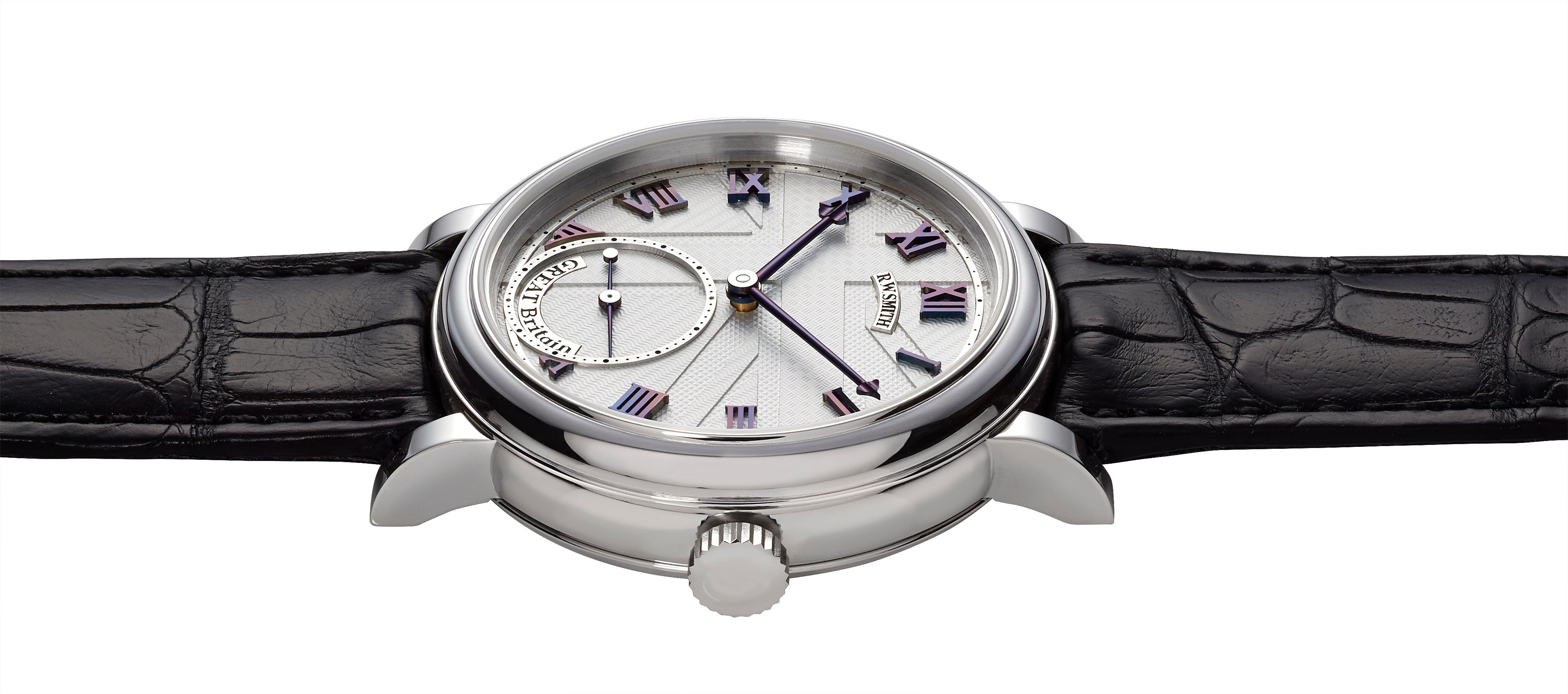 Roger W Smith GREAT Britain unique hand-made watch with Union Jack guilloche dial