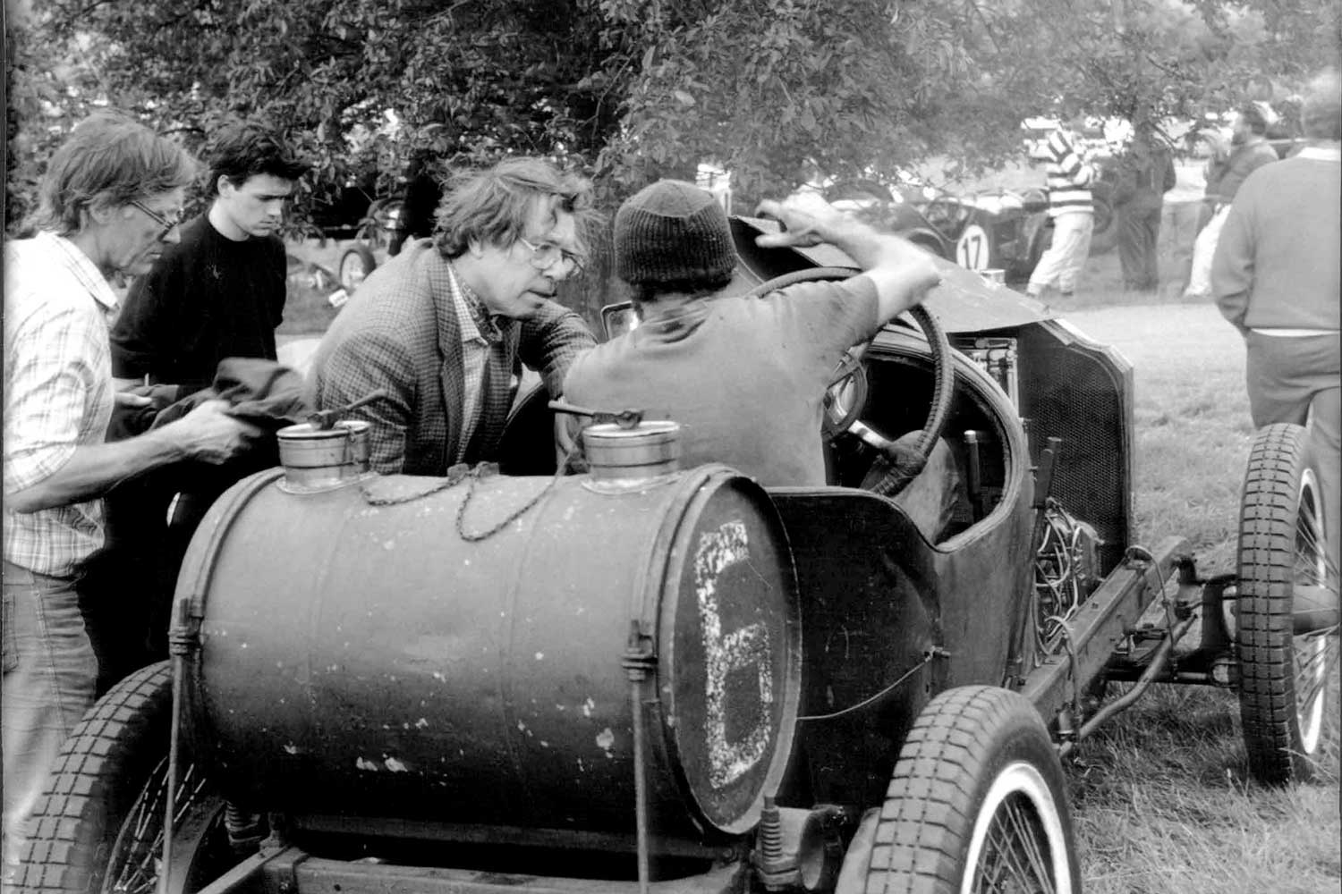 Daniels in classic car in George Daniels the Collector for A Collected Man London