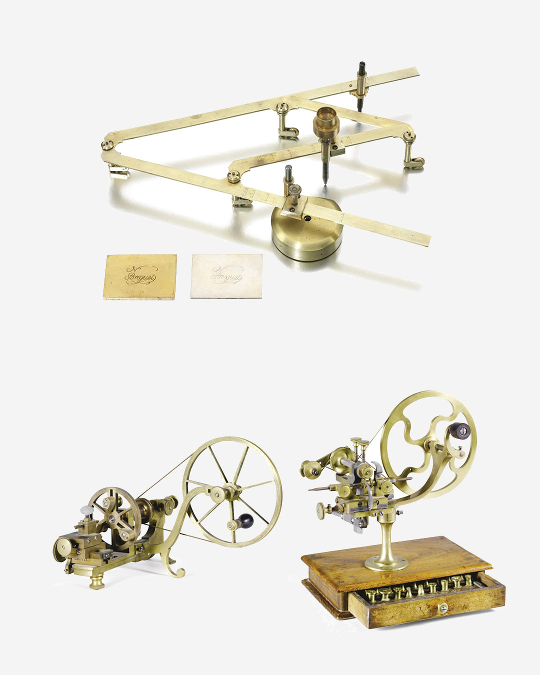 Brass panthograph and topping tools in George Daniels the Collector for A Collected Man London