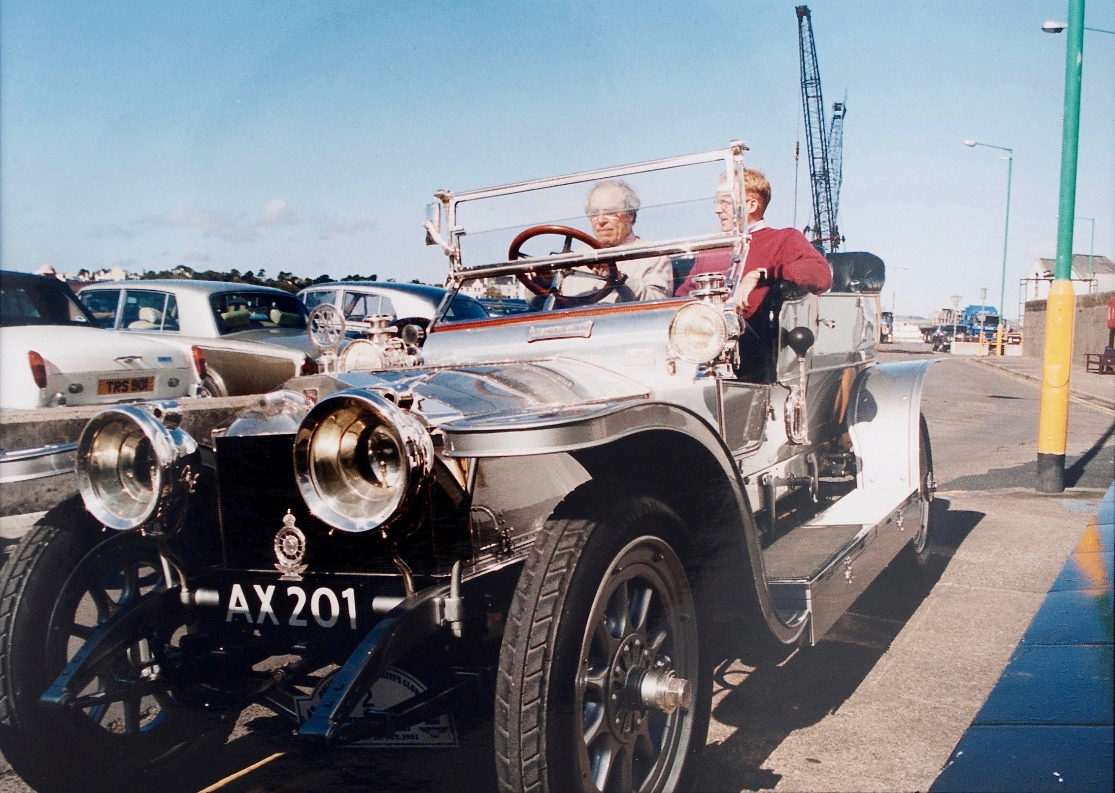 Roger Smith and George Daniels in the Silver Ghost Rolls Royce in George Daniels the Collector for A Collected Man London