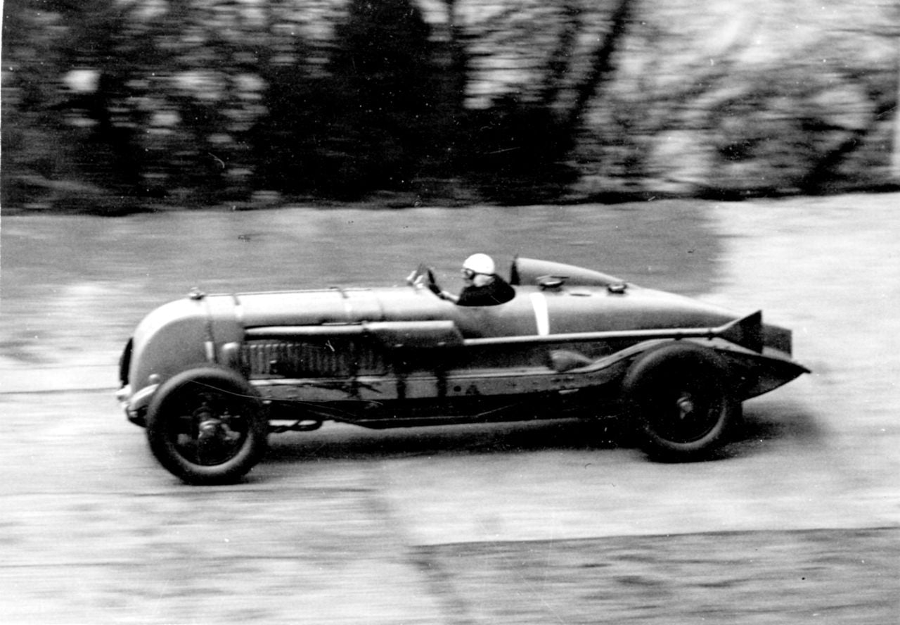 Sir Tim Birkin driving the 'blower' Bentley in George Daniels the Collector for A Collected Man London