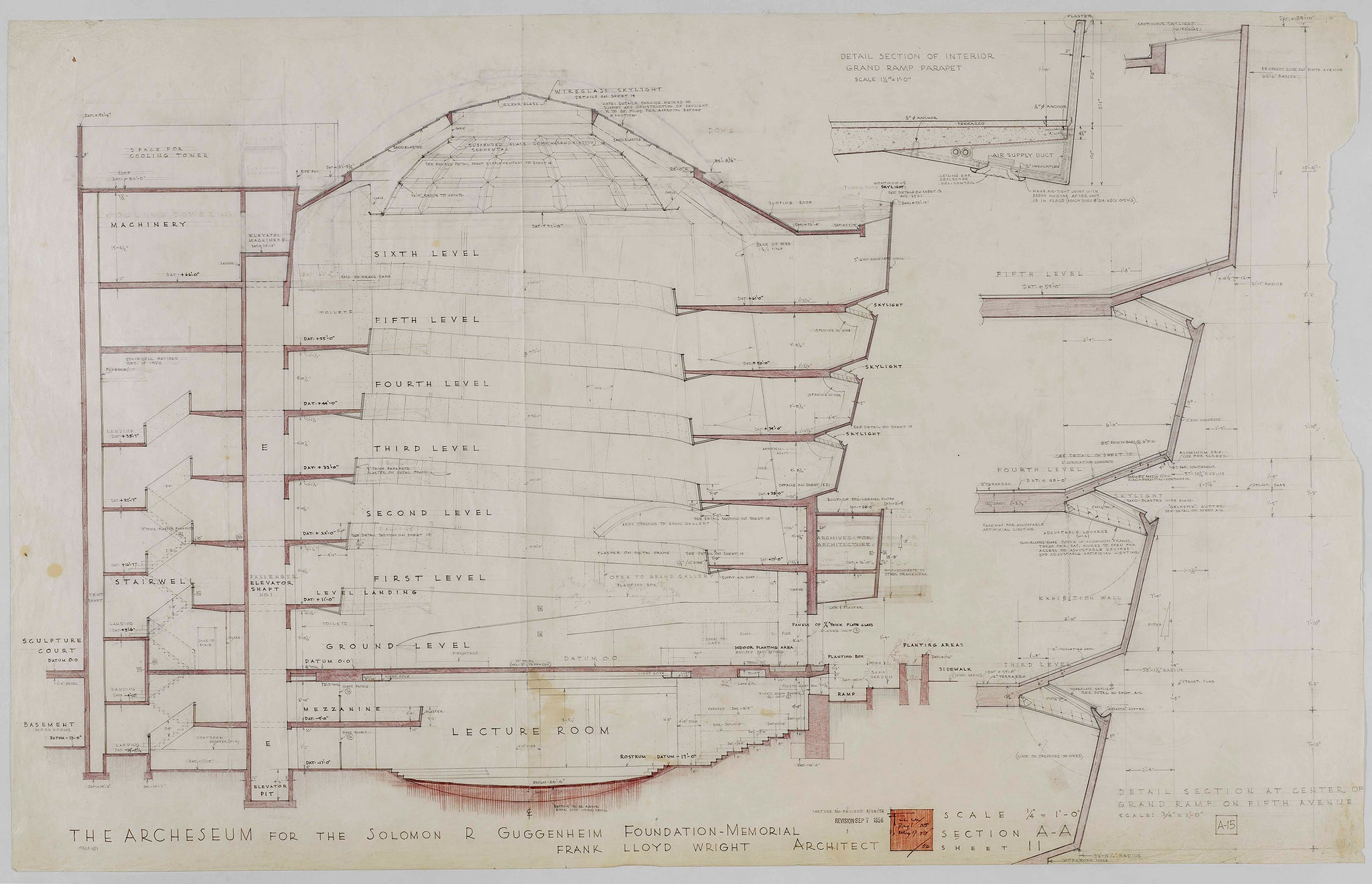 technical drawing of the Guggenheim museum by Frank Lloyd Wrigt