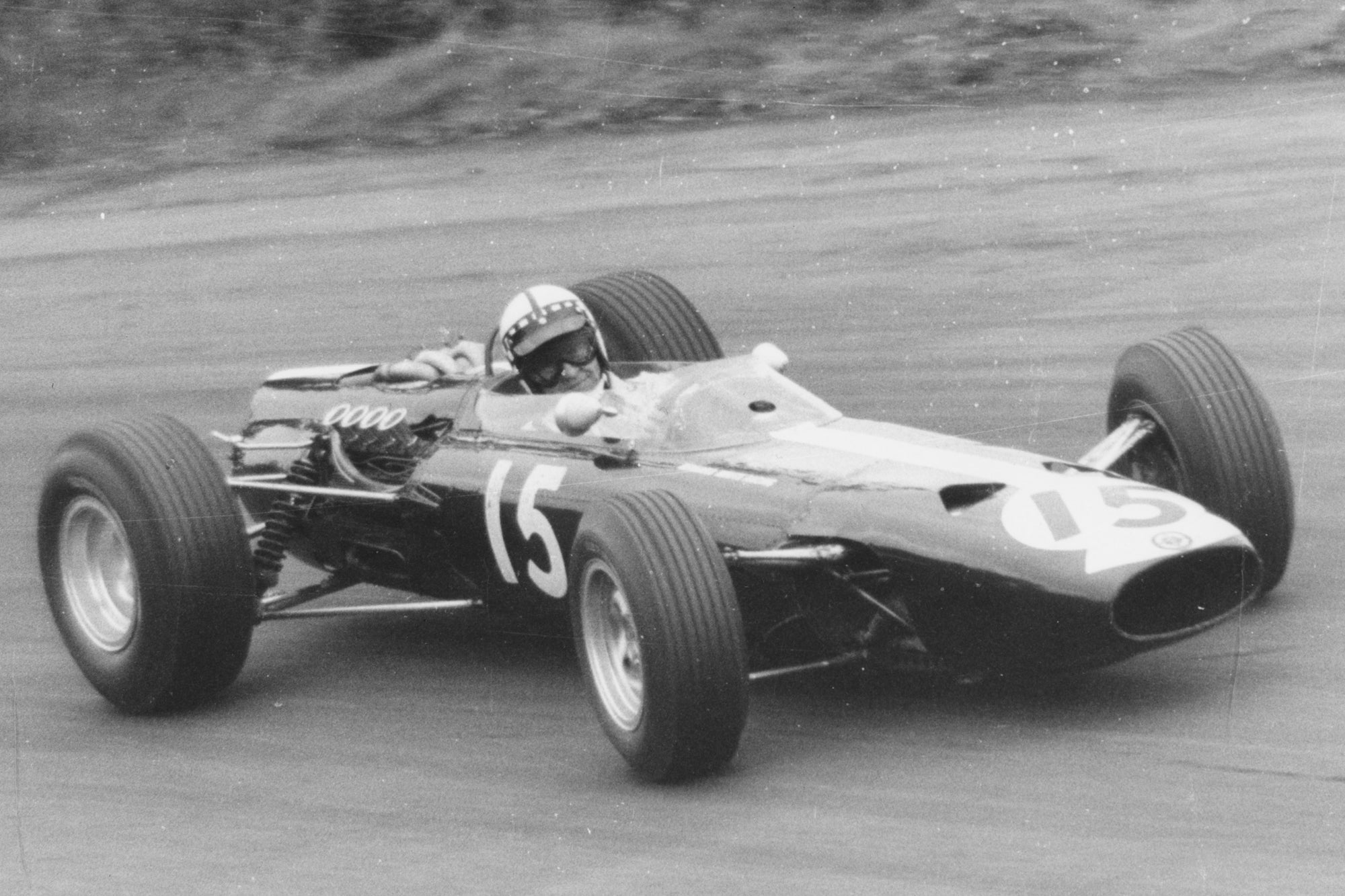 Innes Ireland driving the BRM Formula One car in 1966