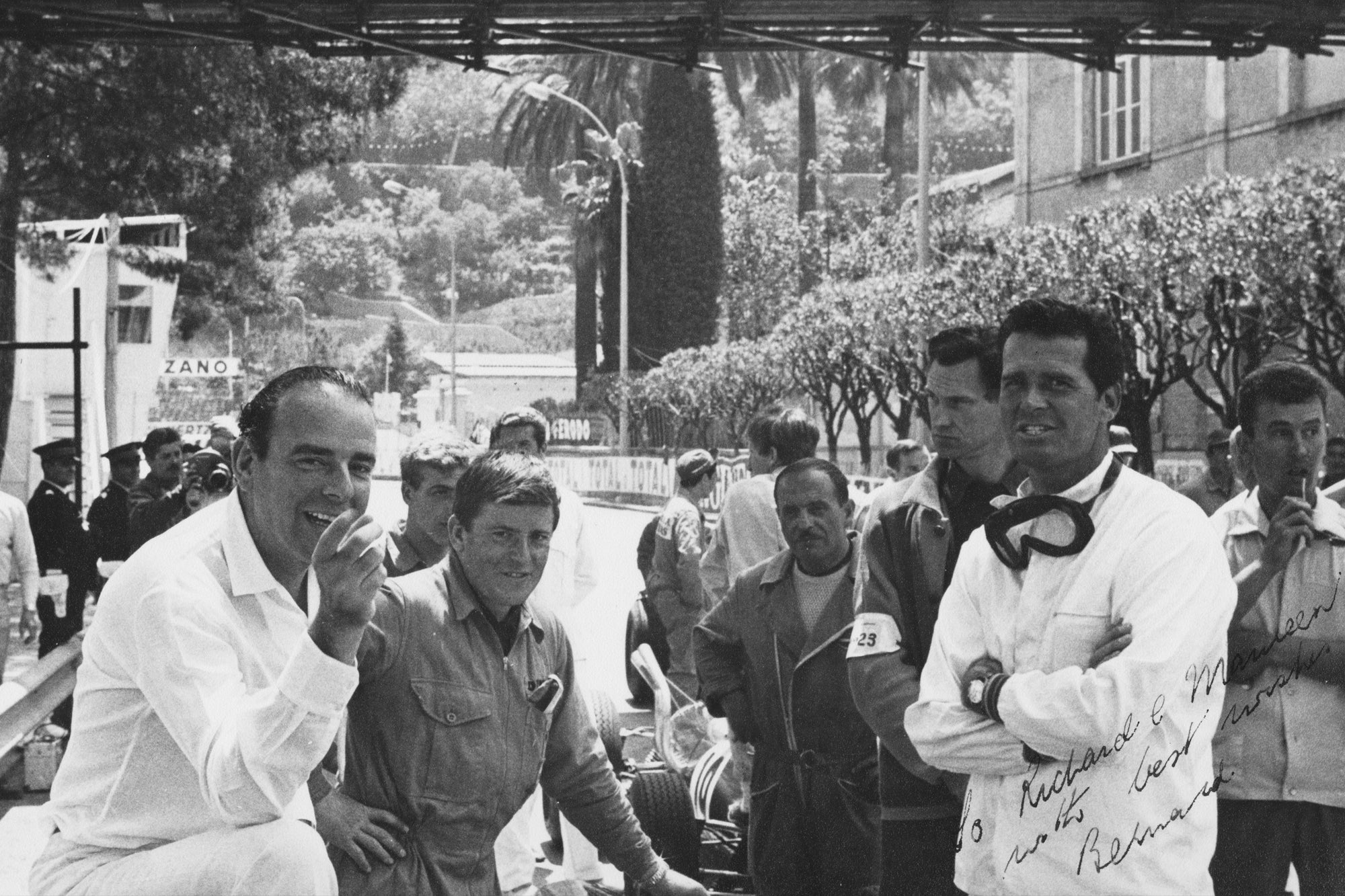 Bernard White (left) and James Garner (right) on the set of Grand Prix.