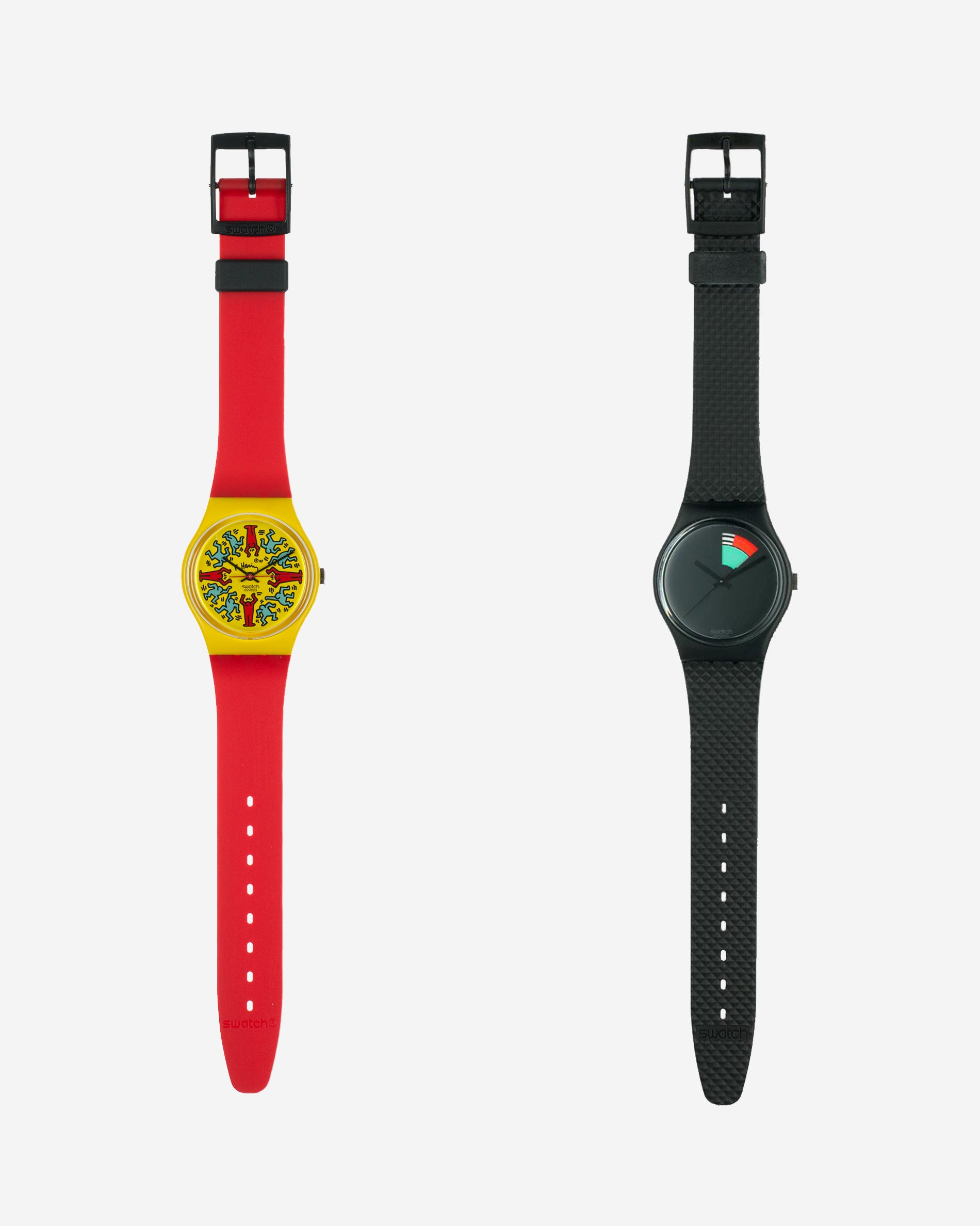 Keith Haring Modele avec personnages Swatch in yellow and red with a Colour Window swatch for A Collected Man London