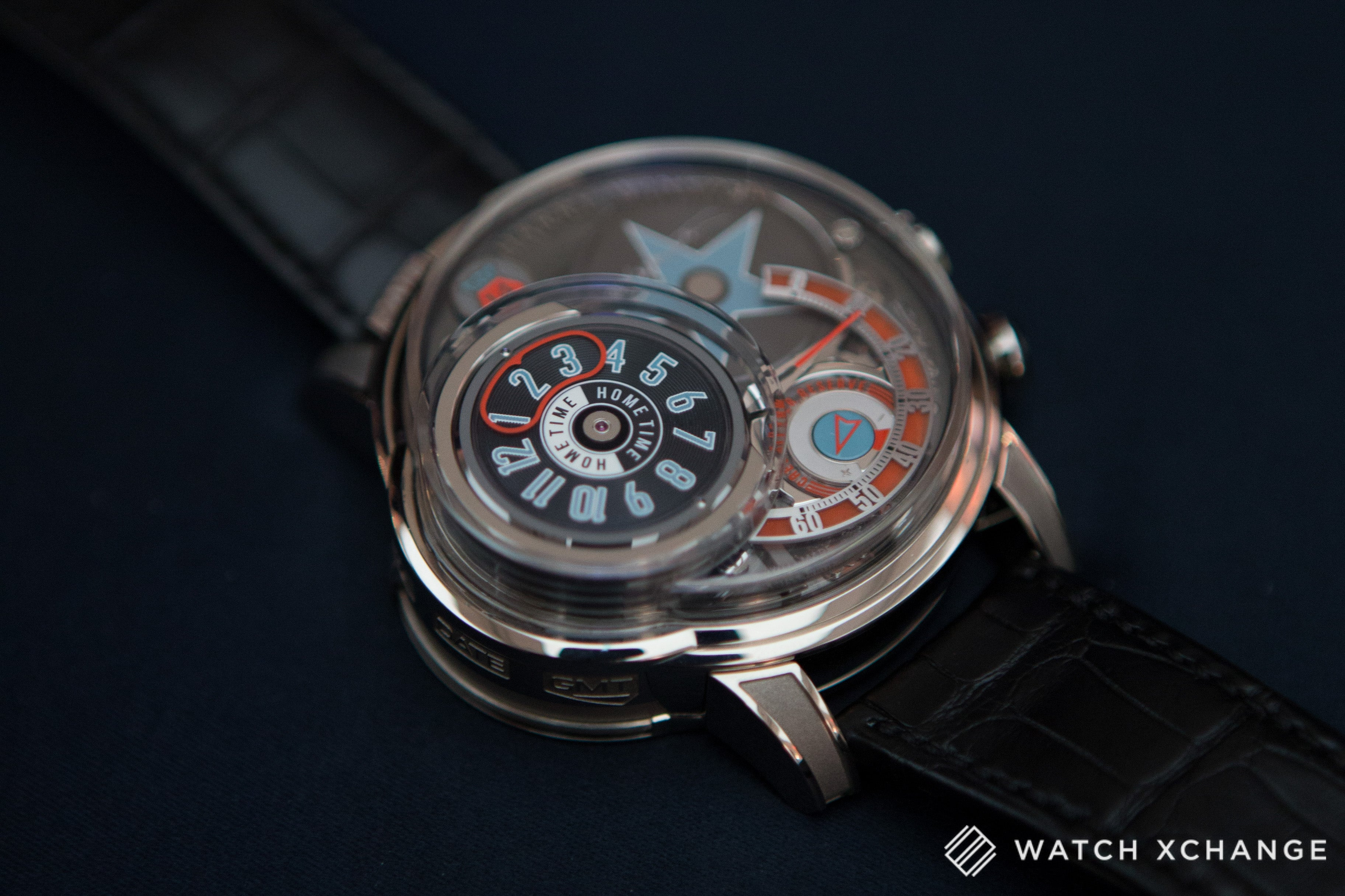 Harry Winston Opus 14 red, blue and black jukebox watch at Salon QP London 2015