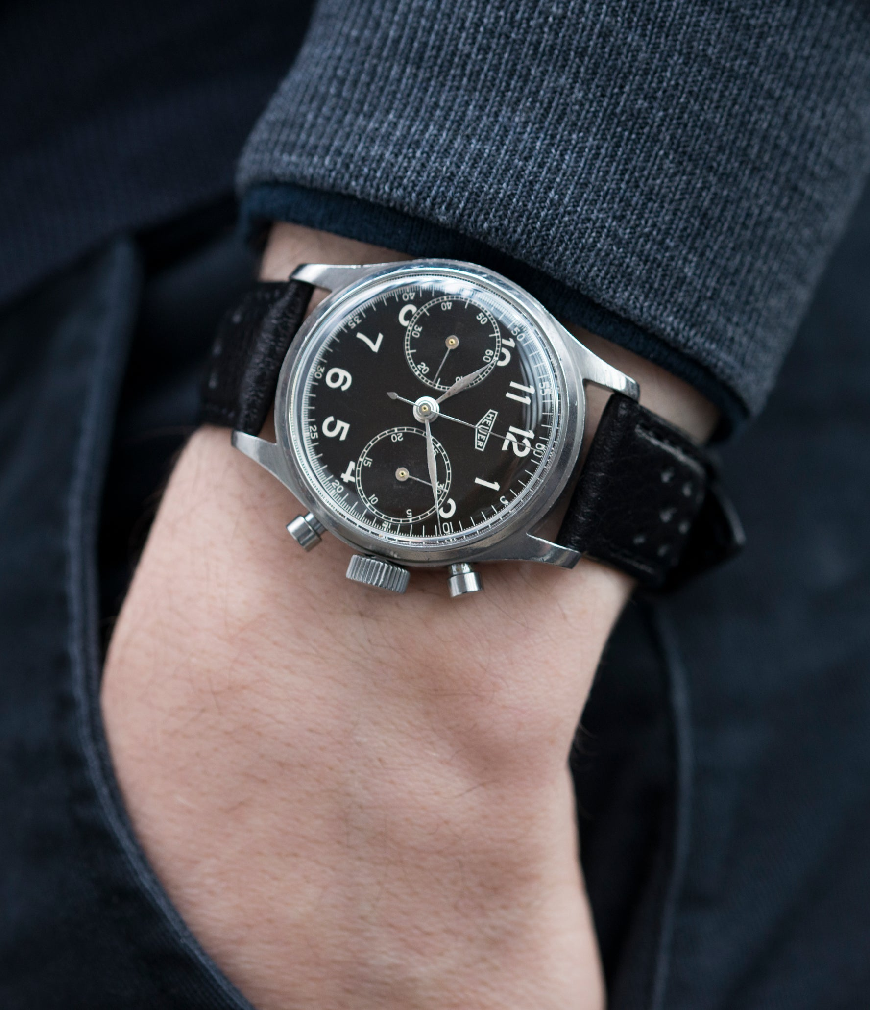 0a230aee37e8c buy vintage Heuer Carrera 3647N chronograph steel watch tritium black dial  for sale at A Collected